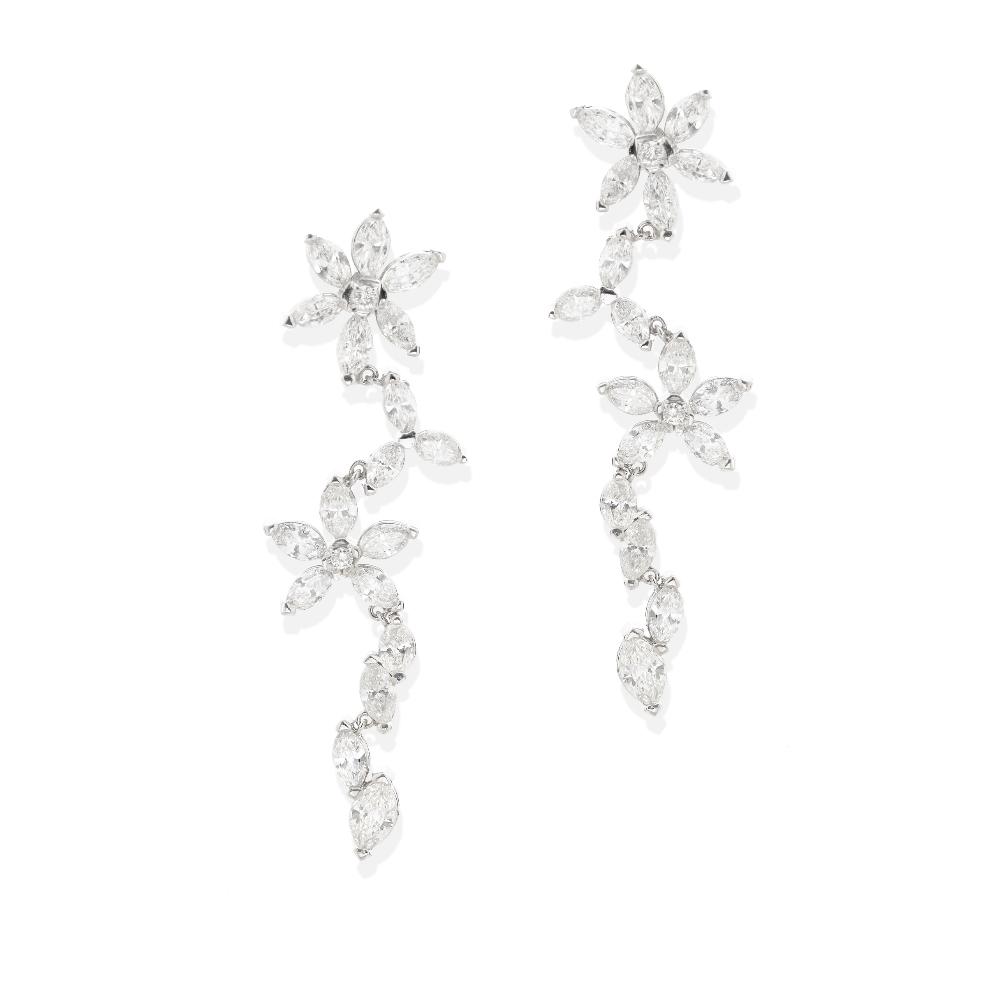 Lot 46 - A pair of diamond pendant earrings