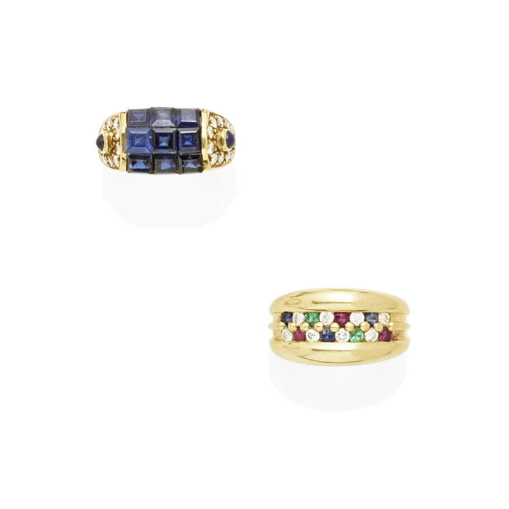 Lot 11 - A pair of diamond and gem-set rings