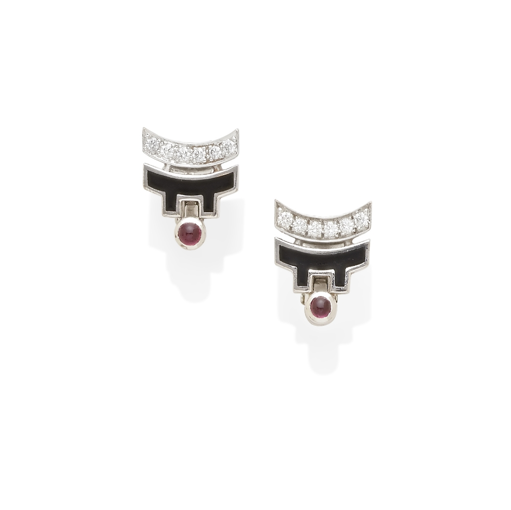 Lot 54 - A pair of Diamond and ruby ear clips, Cartier