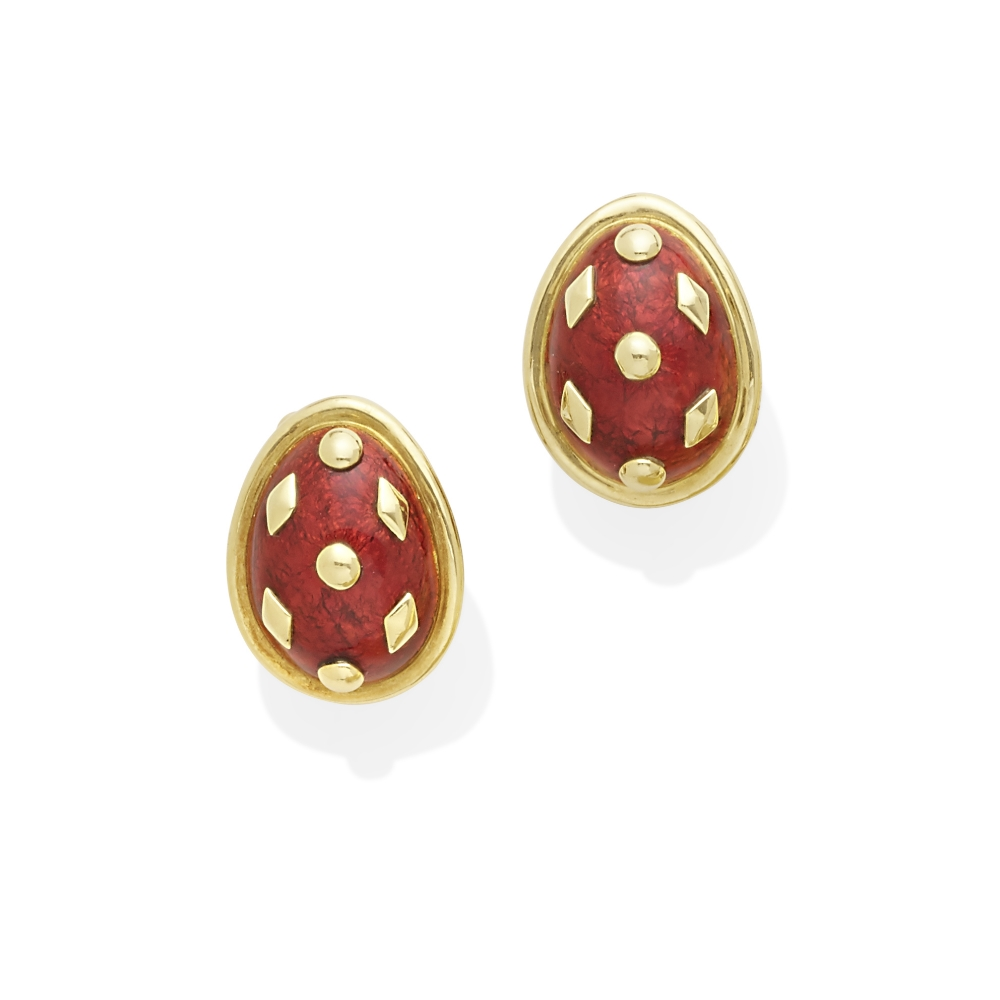 Lot 4 - A pair of 18k gold and enamel 'Dot Lozenge' earclips, Jean Schlumberger for Tiffany & Co.