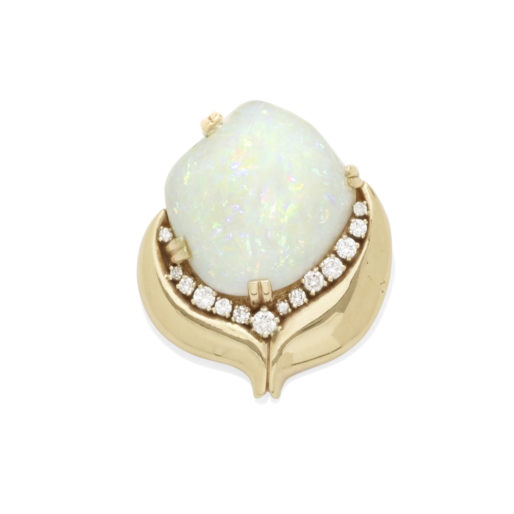 Lot 2 - An opal and diamond convertible brooch pendant