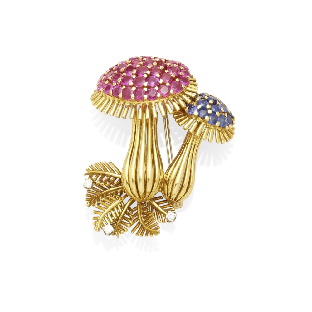 Lot 10 - A Ruby sapphire and diamond brooch, attributed to Tiffany & Co.