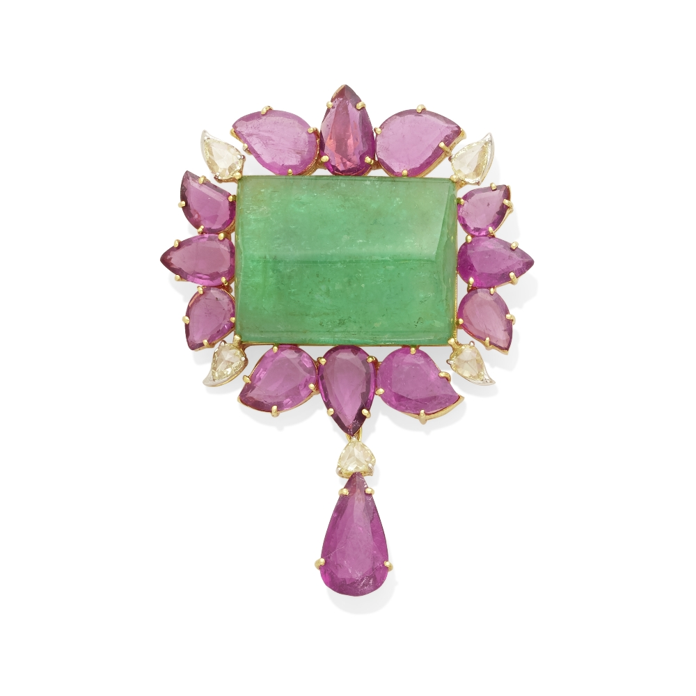 Lot 19 - An emerald, pink tourmaline and diamond pendant
