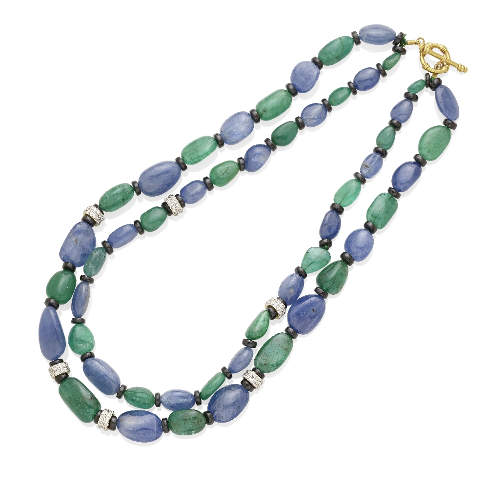 Lot 34 - A sapphire and emerald bead necklace