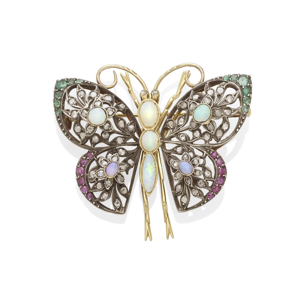 Lot 40 - A gem-set butterfly brooch
