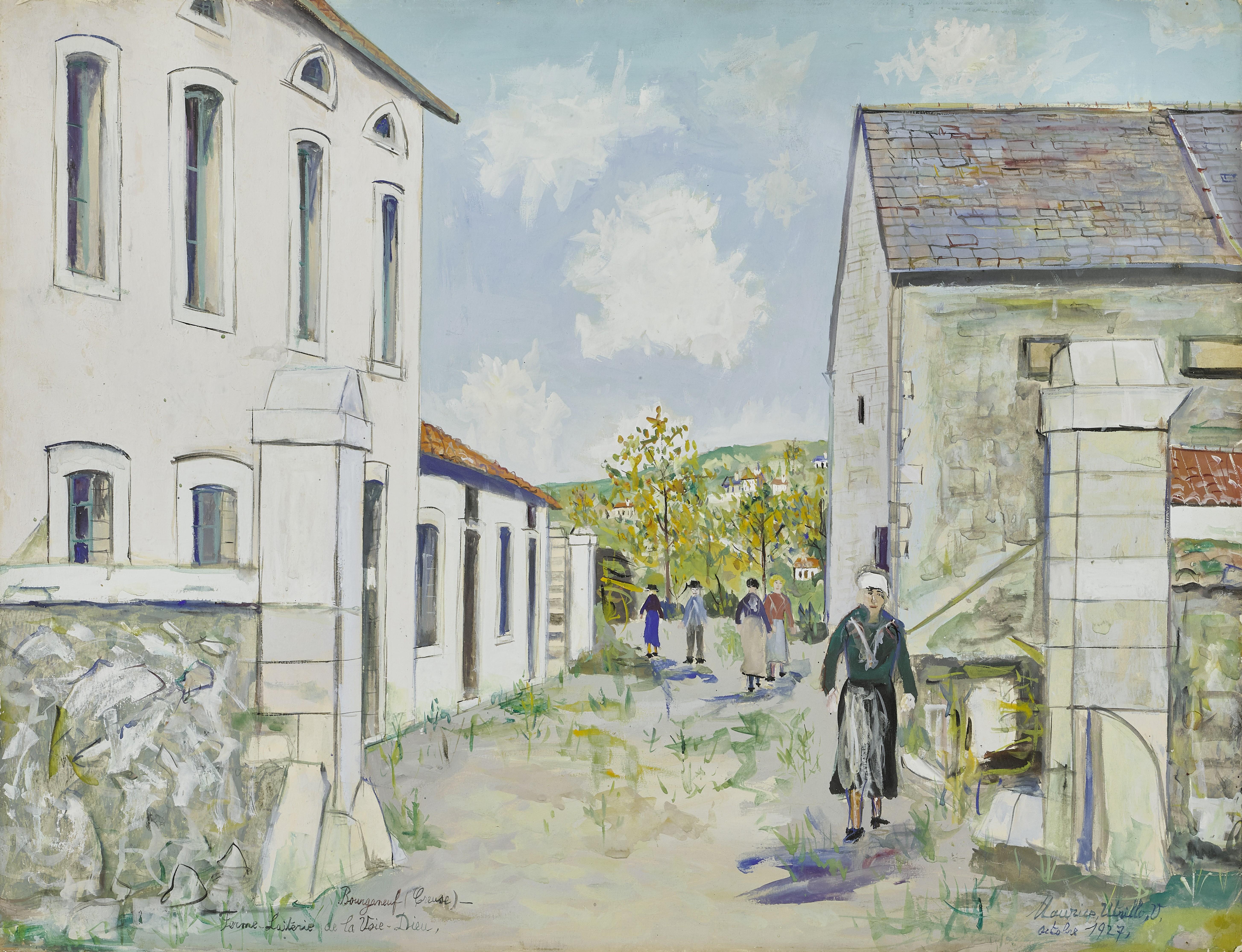 Lot 29 - MAURICE UTRILLO (1883-1955) Ferme Laiterie de la Voie-Dieu à Bourganeuf 19 1/2 x 25 5/8 in (49.5 ...
