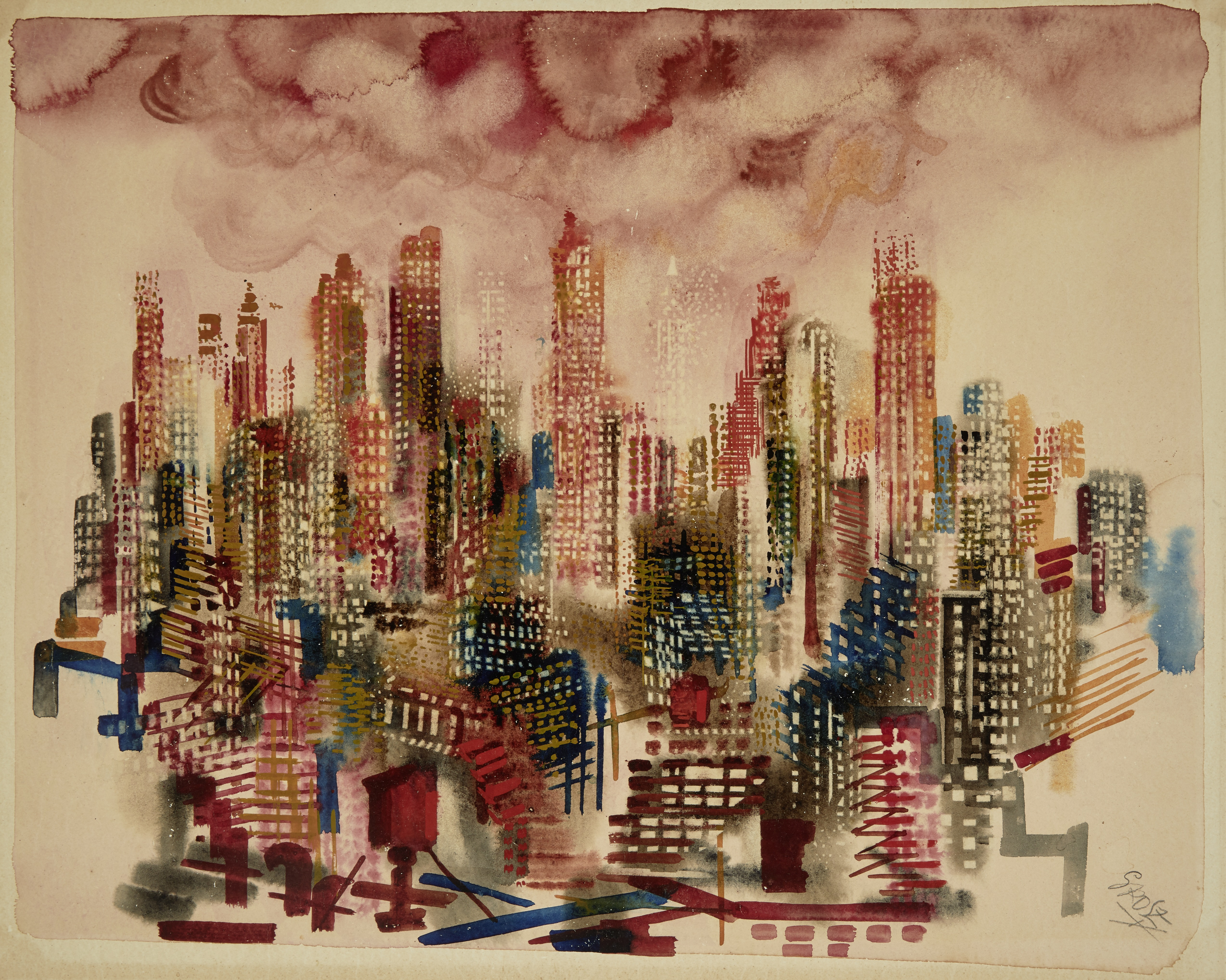 Lot 26 - GEORGE GROSZ (1893-1959) Manhattan Sunset, New York 15 1/2 x 19 1/2 in (39.3 x 49.5 cm) (Executed...