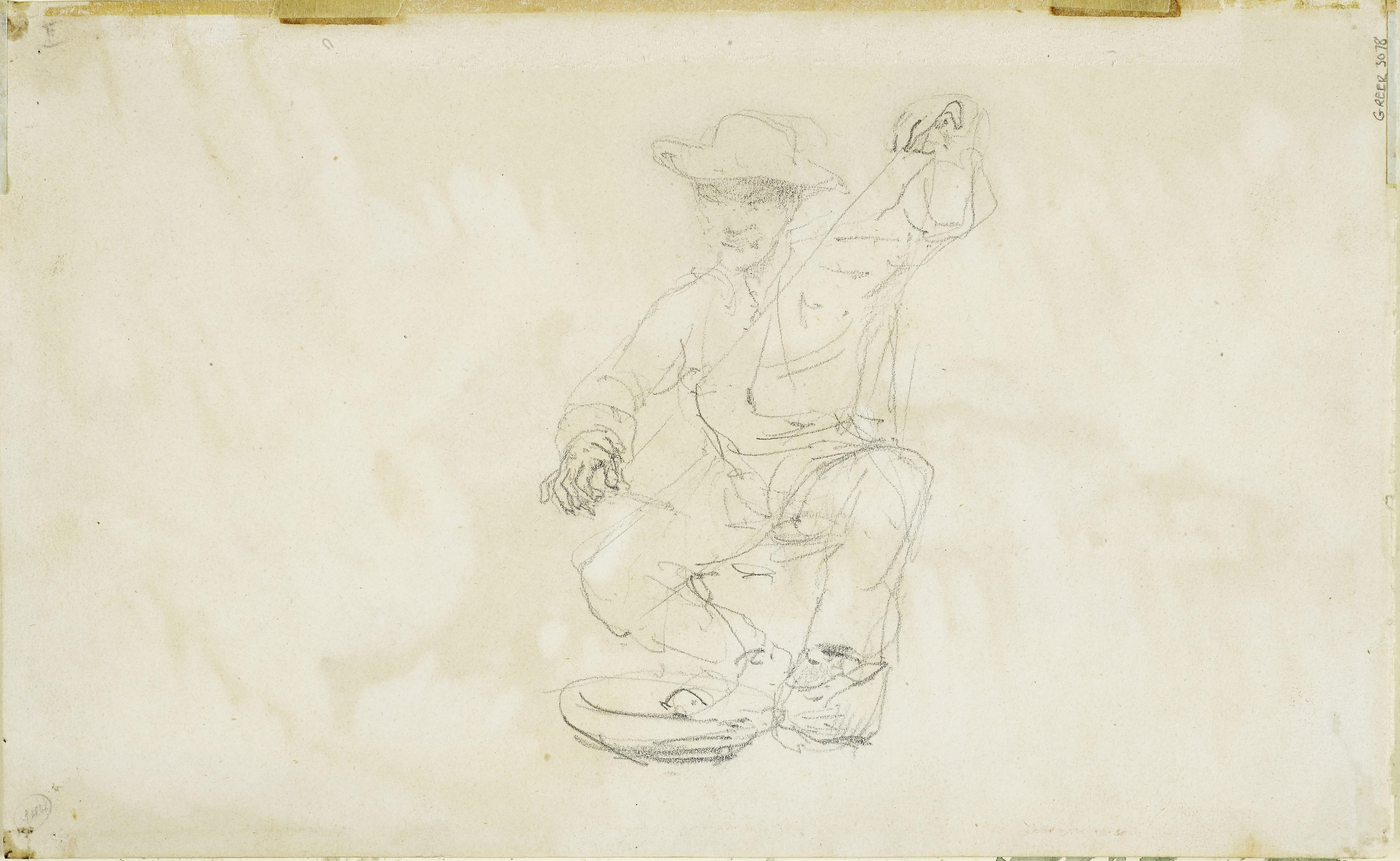 Lot 21 - HENRI DE TOULOUSE-LAUTREC (1864-1901) Manoeuvre de Cavalerie (recto); Paysan Assis (verso) 6 1/4 ...