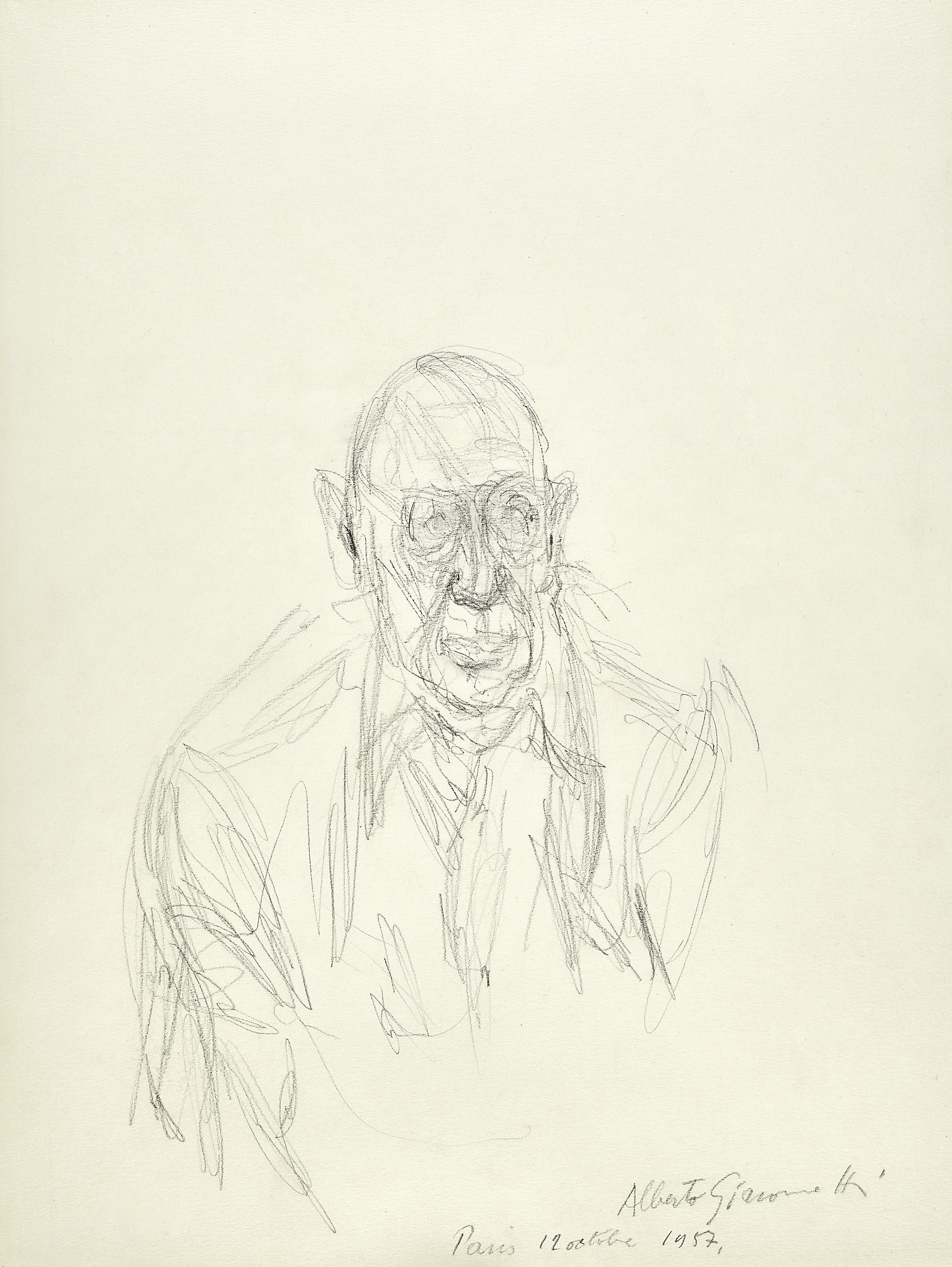 Lot 18 - ALBERTO GIACOMETTI (1901-1966) Igor Stravinsky 18 5/8 x 12 3/4 in (47.3 x 32.4 cm) (Executed on O...