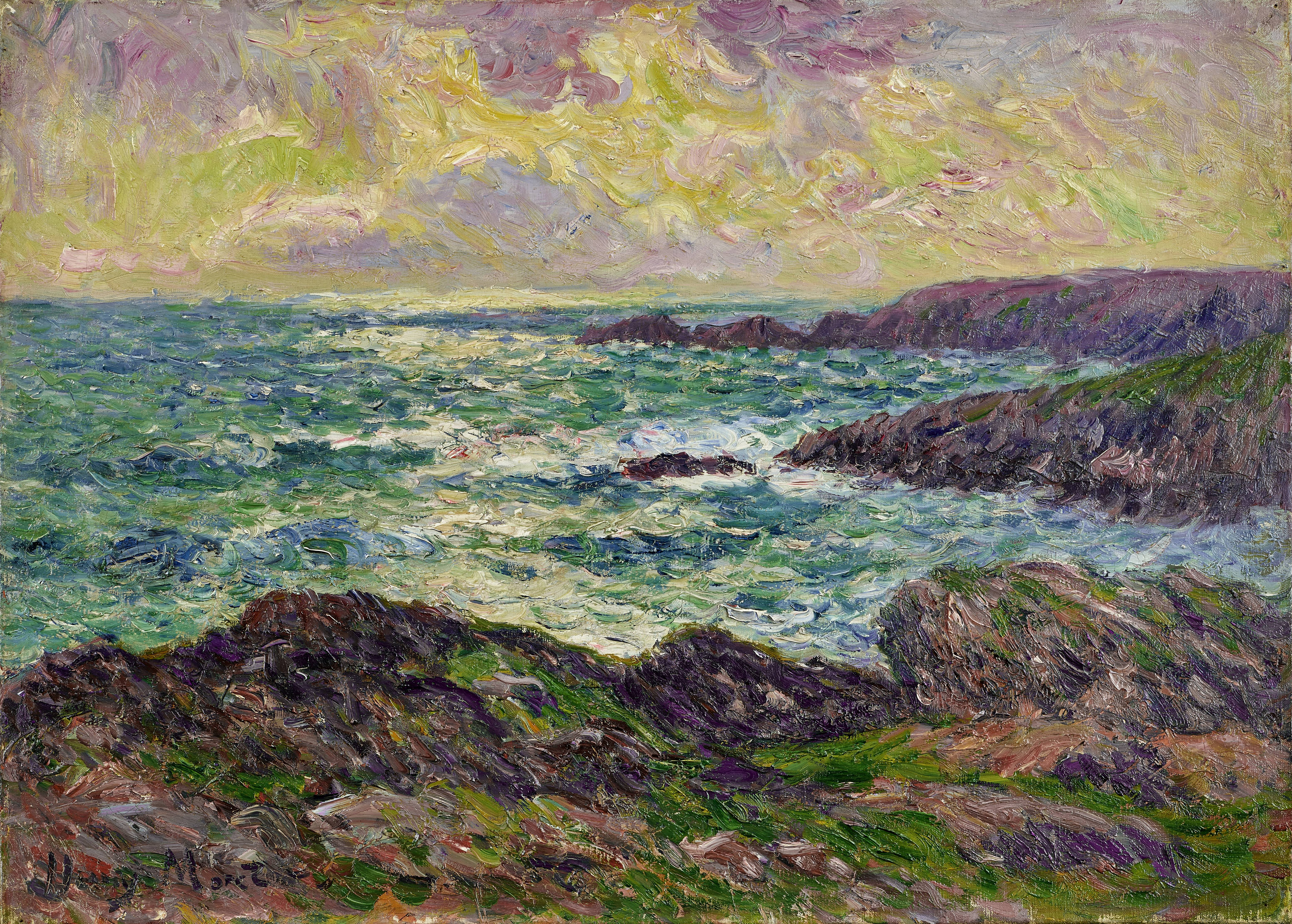 Lot 15 - HENRY MORET (1856-1913) Paysage marin 17 3/8 x 24 in (44.2 x 60.9 cm) (Painted in 1902)