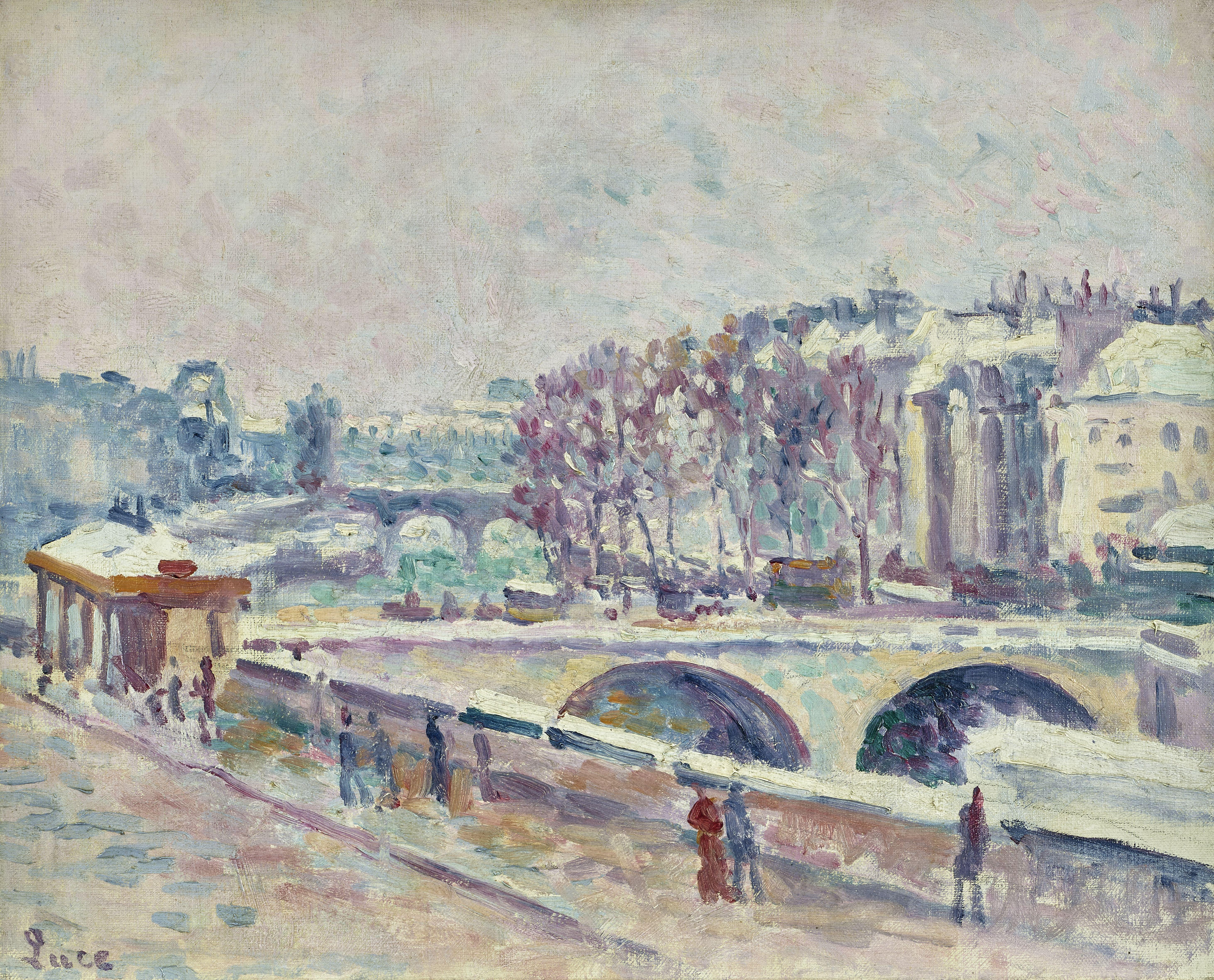Lot 13 - MAXIMILIEN LUCE (1858-1941) Le Quai Saint-Michel 13 x 16 1/8 in (32.8 x 40.9 cm)