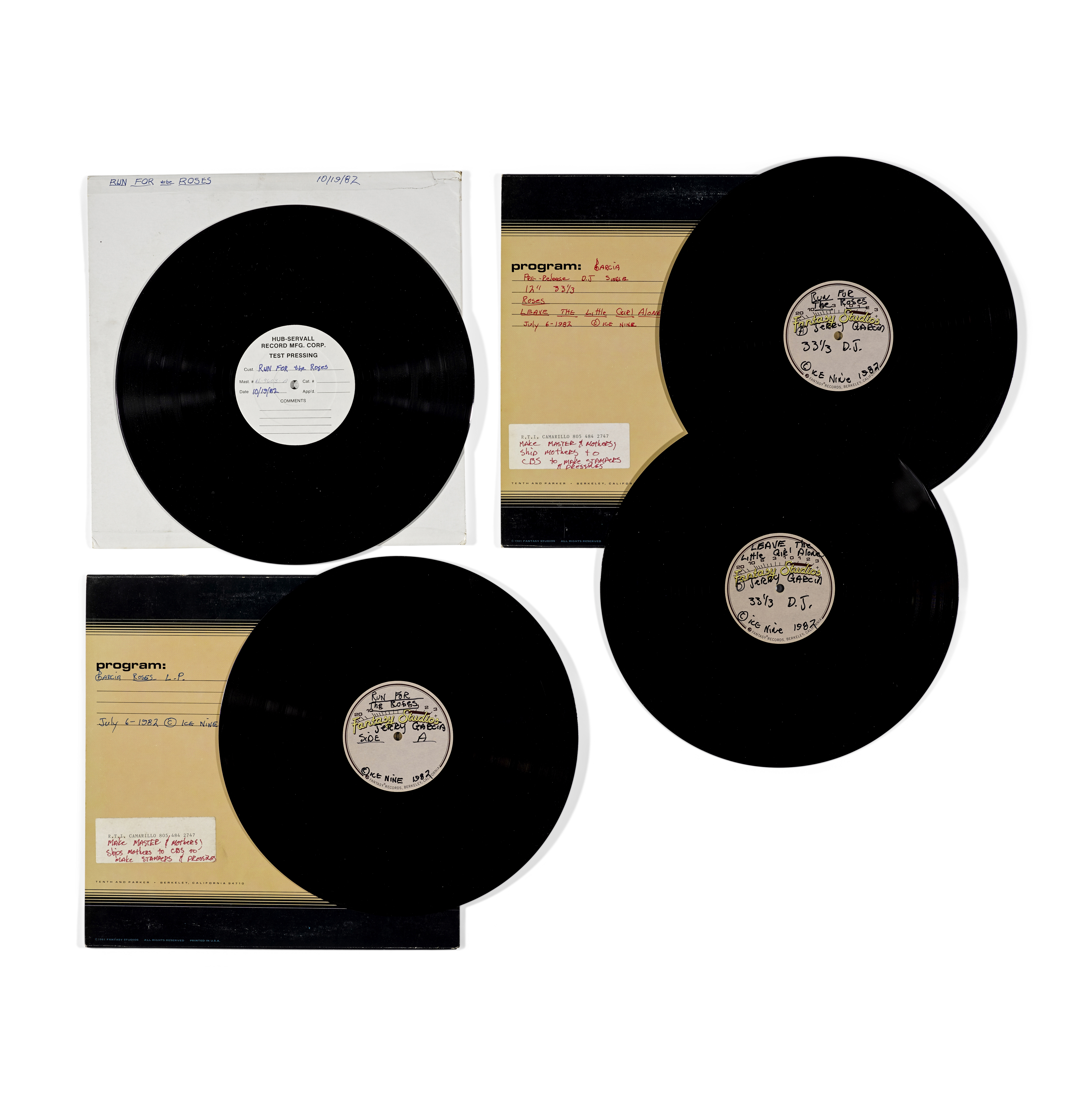 Lot 344 - A JERRY GARCIA ACETATE RECORDING OF THE ALBUM RUN FOR THE ROSES AND THREE OTHER RELATED RECORDING...