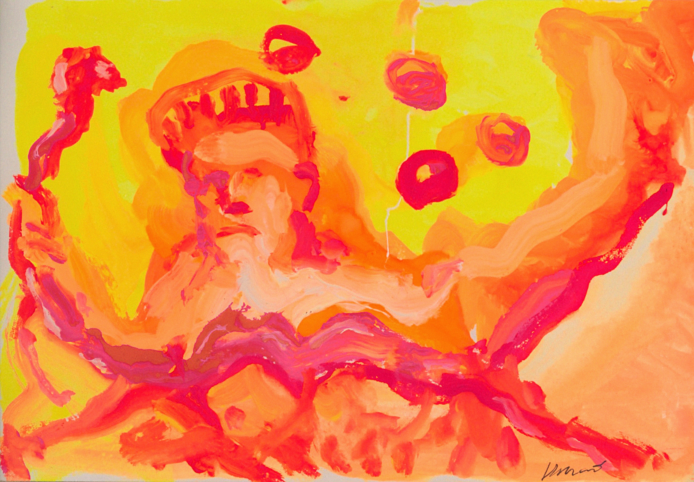 Lot 356 - A JERRY GARCIA WATERCOLOR TITLED 'SNAKE IN JUGGLING SHOW' circa 1990