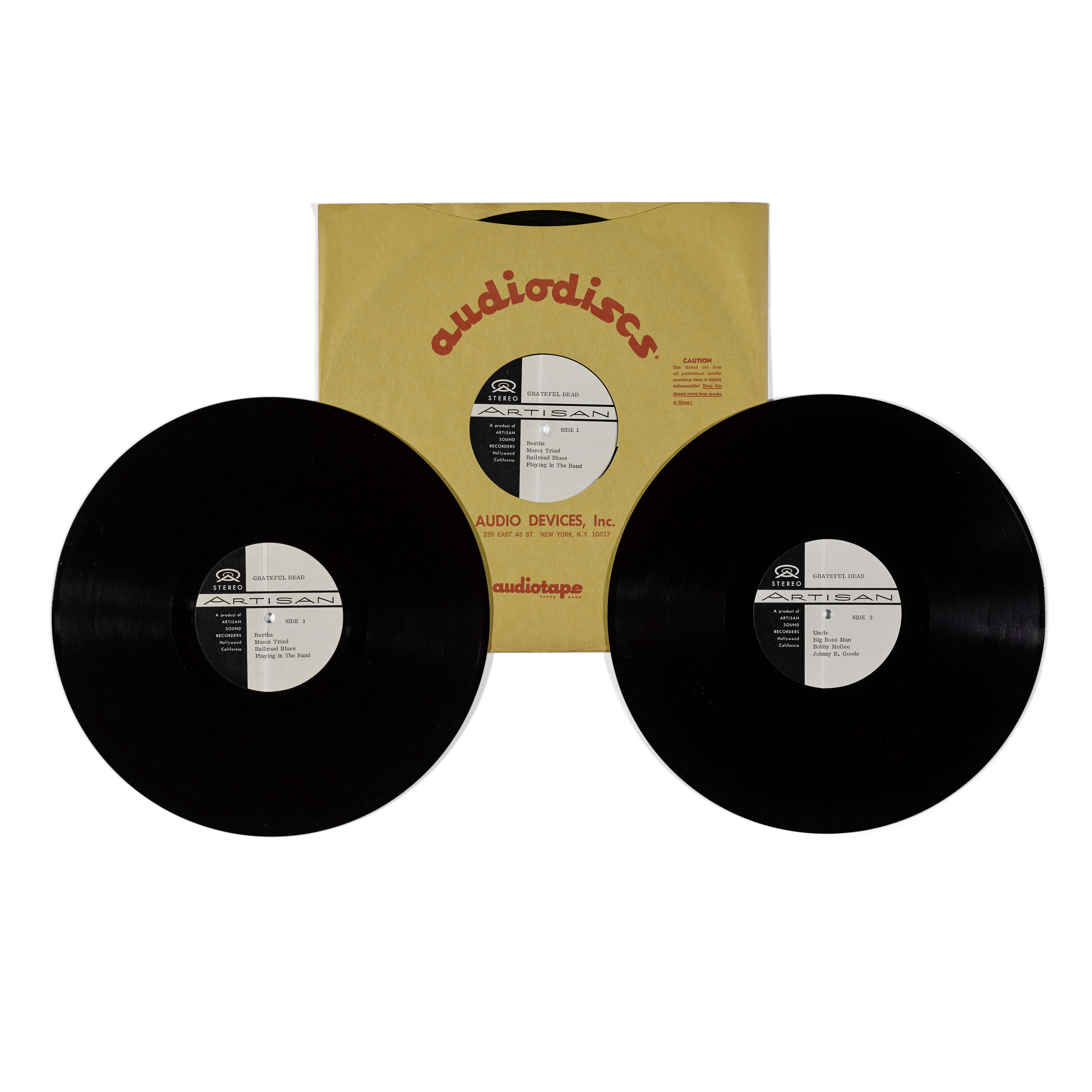 Lot 321 - THREE JERRY GARCIA ACETATE RECORDINGS AND TWO TEST PRESSINGS OF THE LIVE DOUBLE ALBUM GRATEFUL DE...
