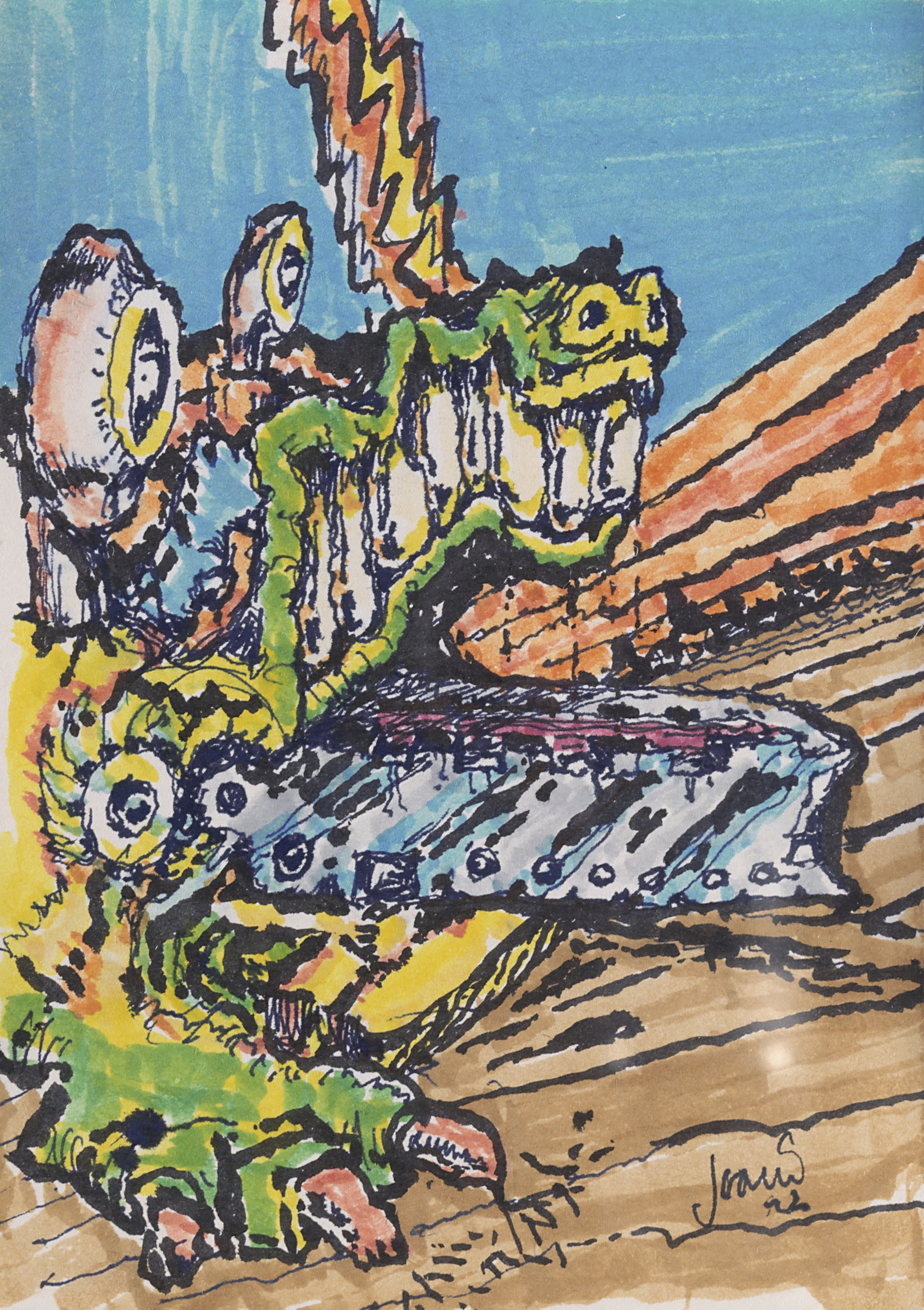 Lot 377 - A WATERCOLOR OF AN ALLIGATOR BY JERRY GARCIA 1992