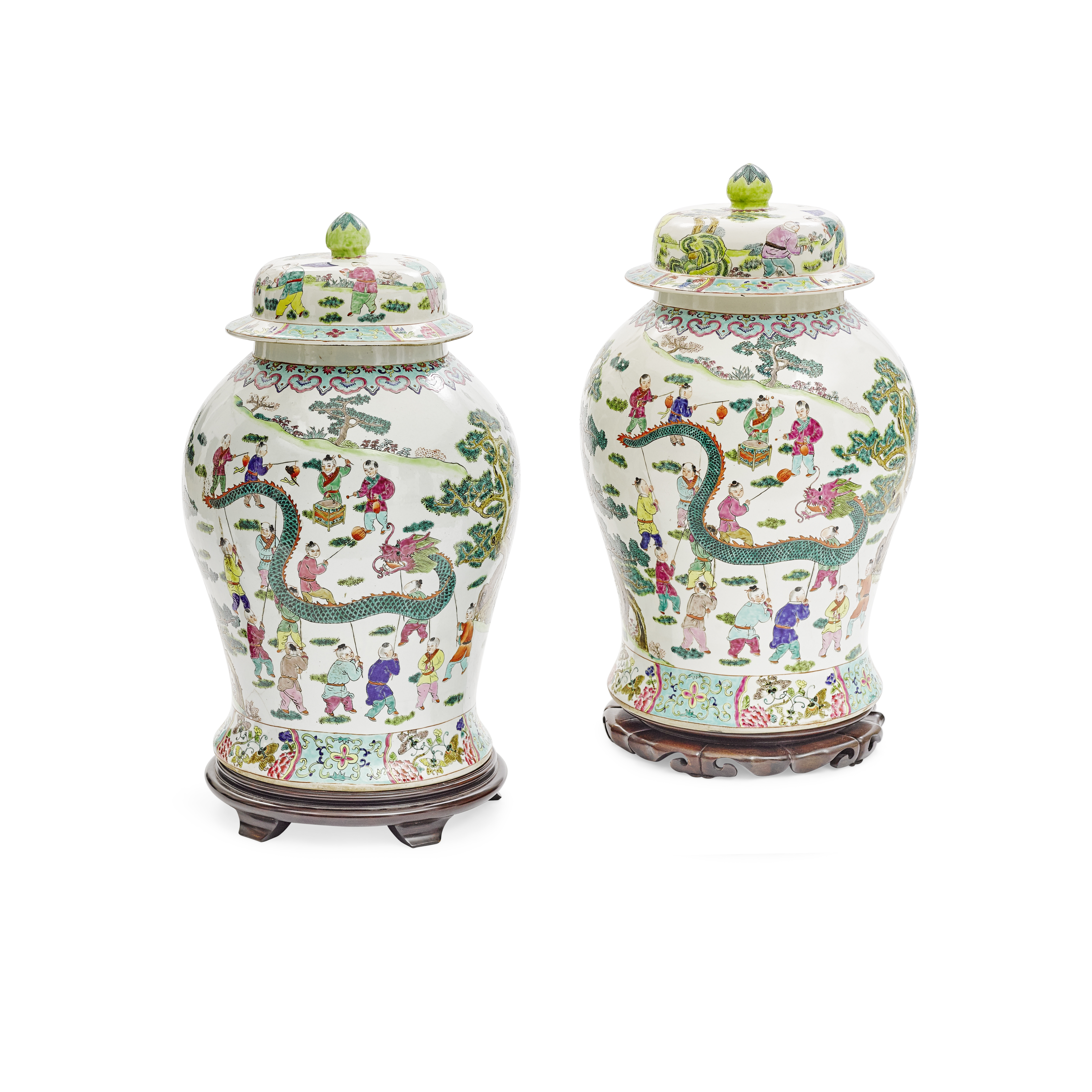 Lot 251 - A pair of Chinese famille rose porcelain ginger jars
