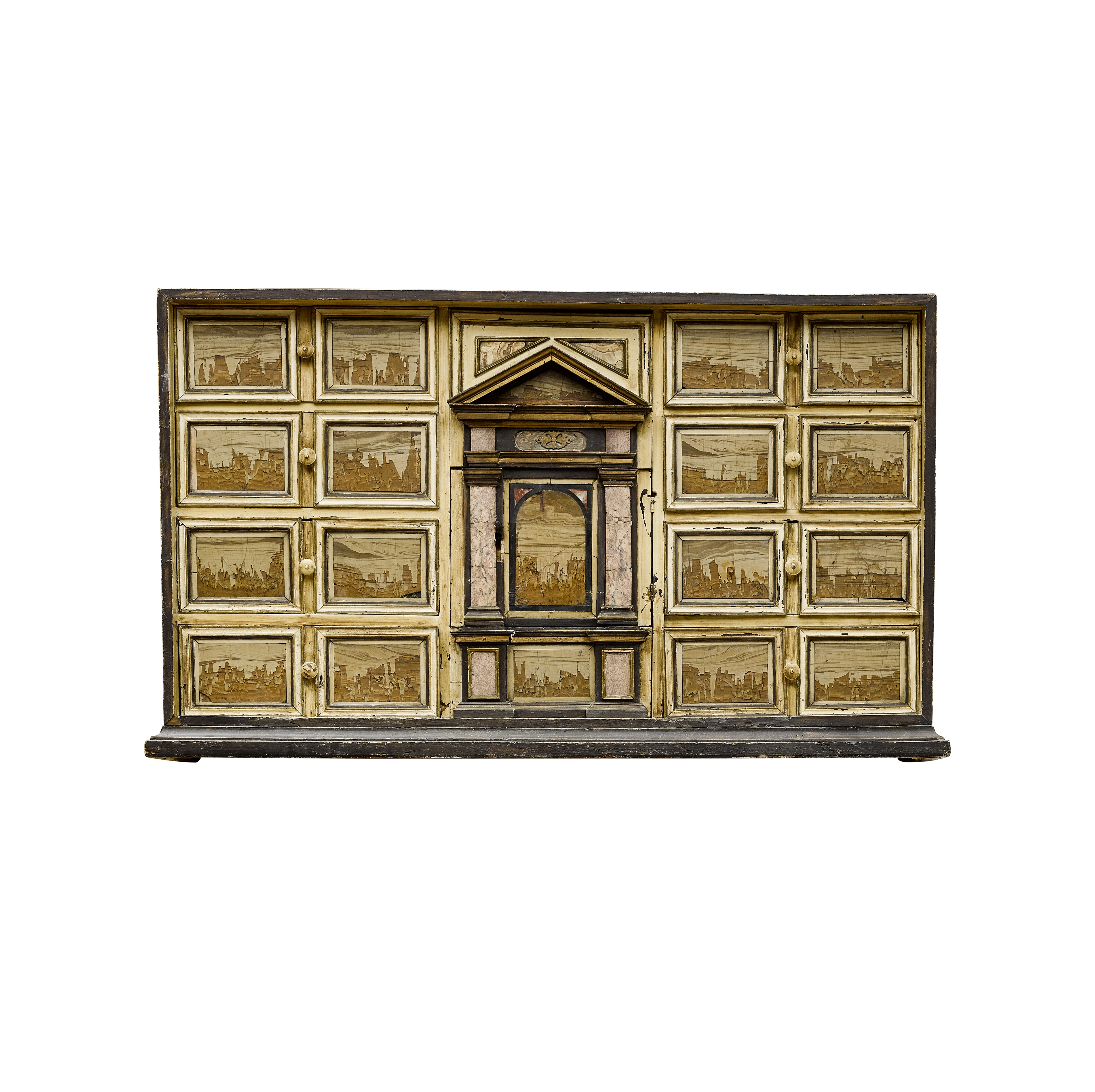 Lot 112 - AN ITALIAN BAROQUE PAINTED and PIETRA DURA INLAID TABLE CABINET Early 18th century