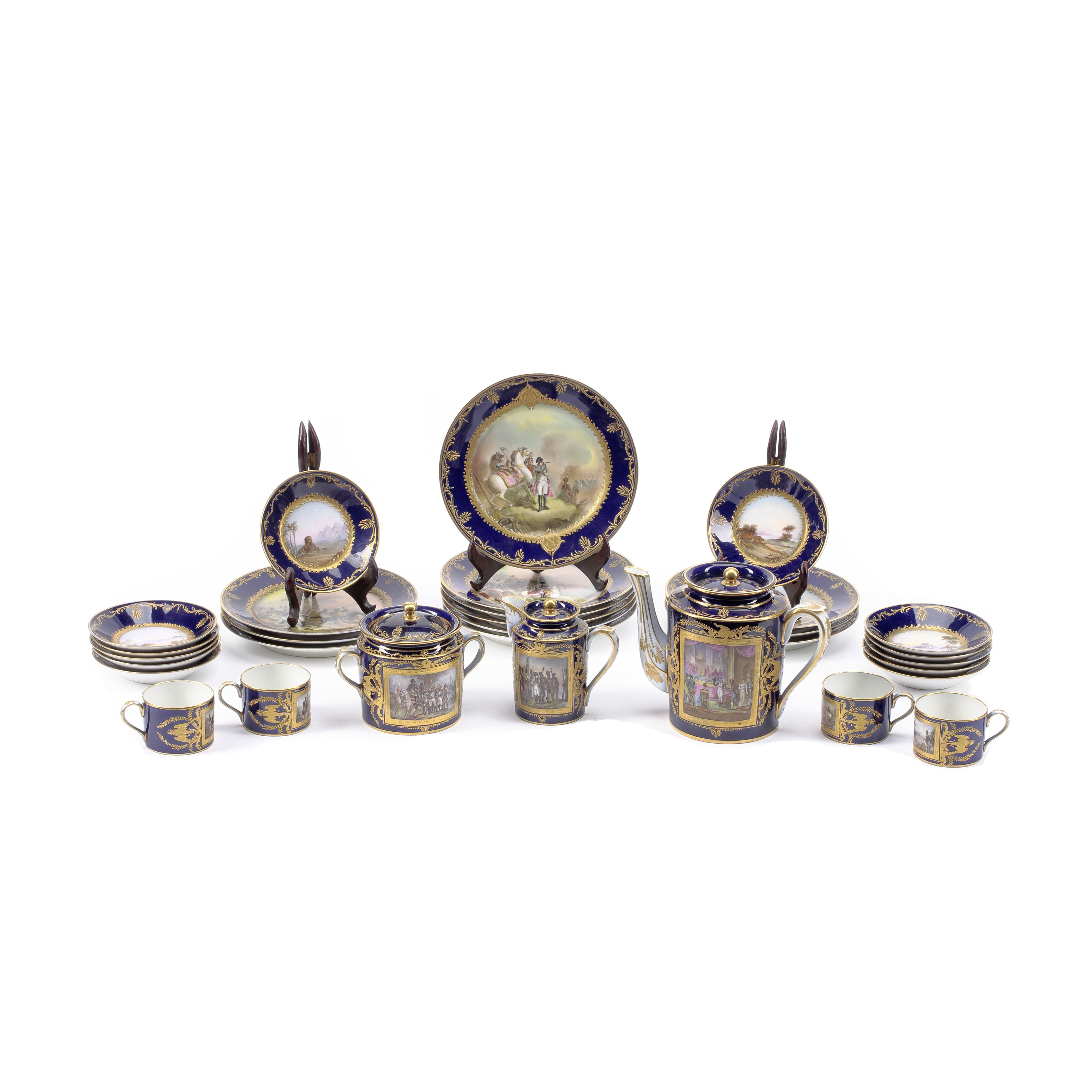 Lot 276 - A Sevres Napoleonic style Gilt and Polychromed Porcelain Coffee Service 19th century
