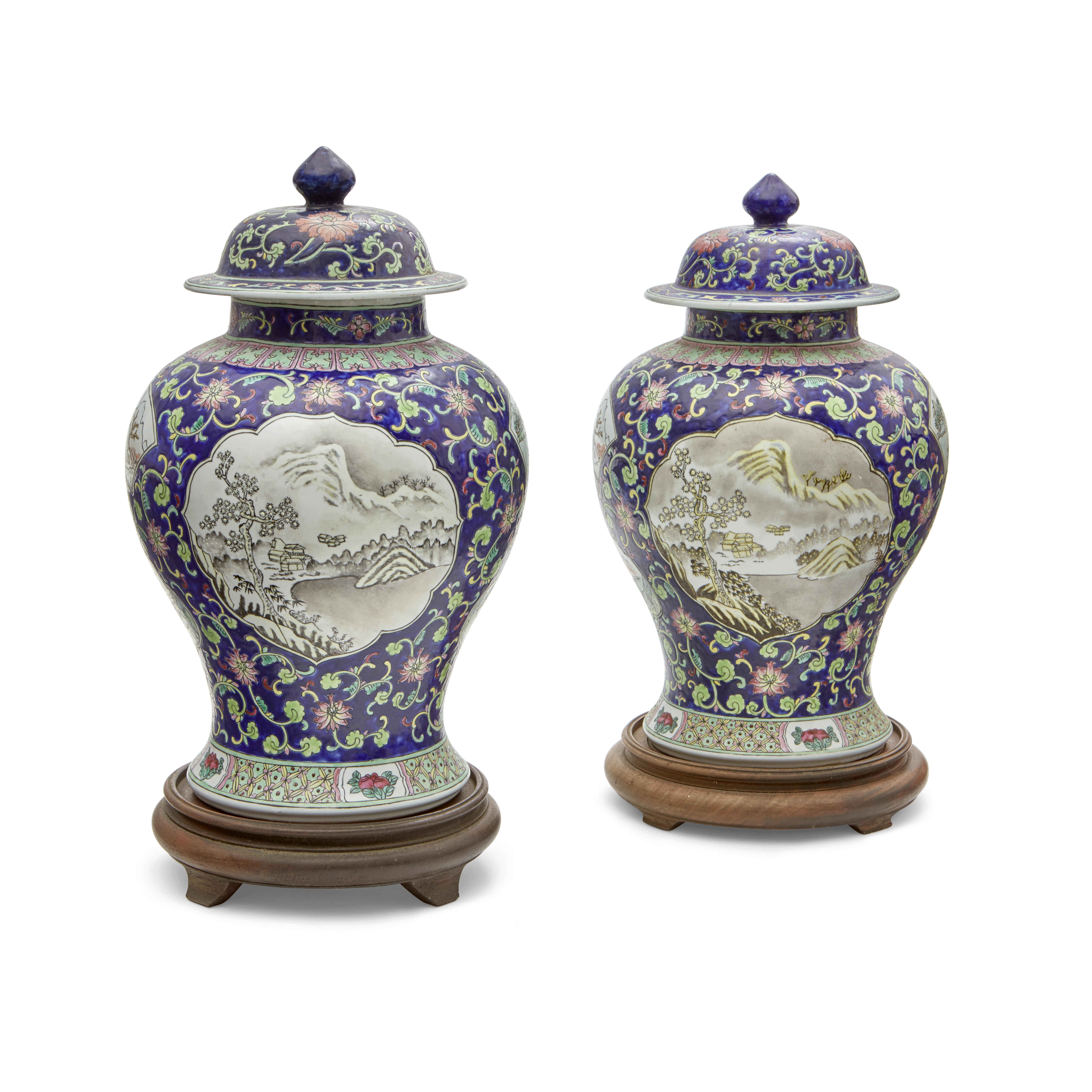 Lot 258 - Pair of Chinese Enameled Porcelain Covered Vases 20th century