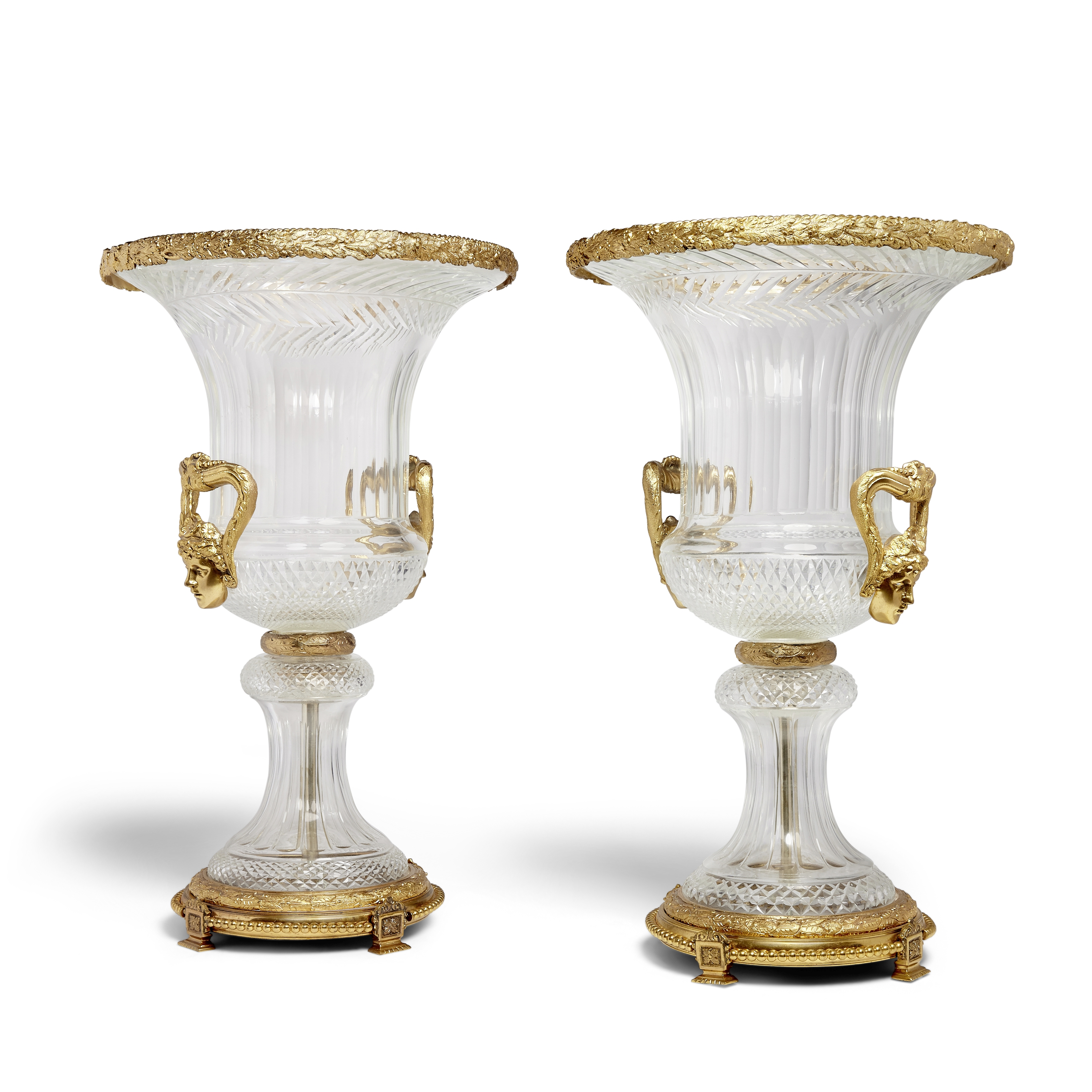 Lot 290 - A Pair of large gilt bronze mounted Baccarat glass urns Late 20th/early 21st century