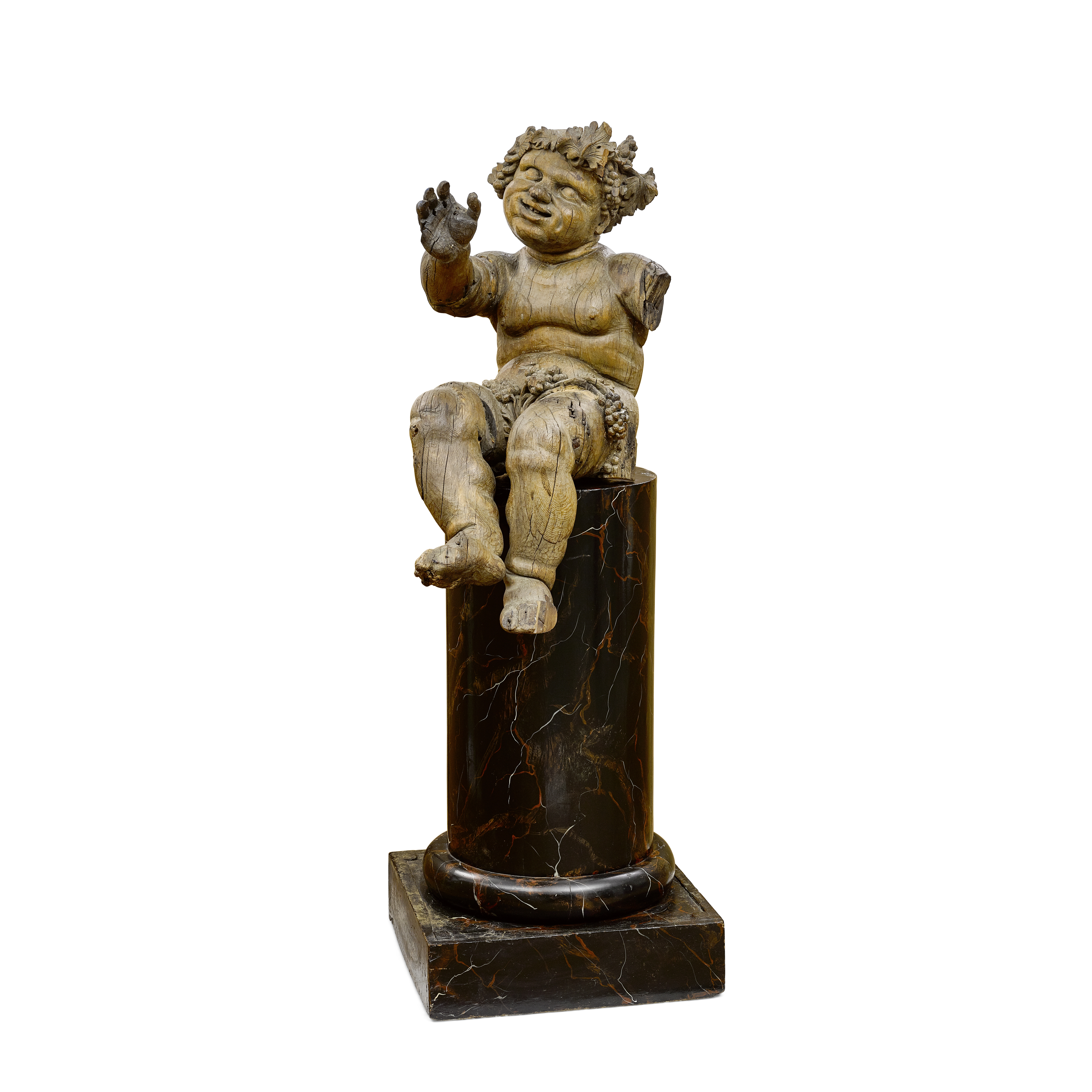 Lot 117 - An Italian Baroque Figure of a Putto on a Painted Pedestal 18th century and later