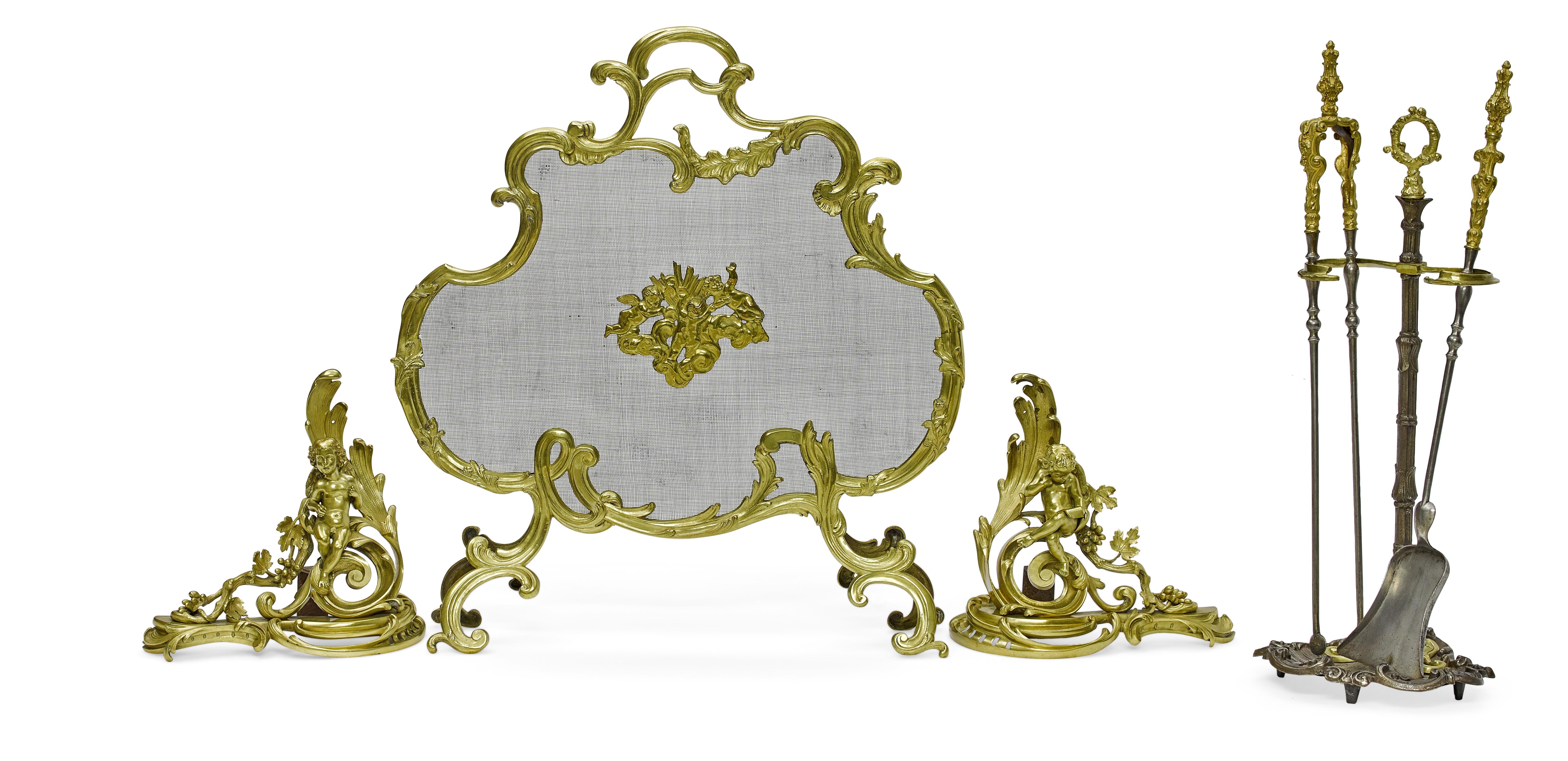 Lot 161 - An assembled Louis XV style gilt bronze six piece fireplace set