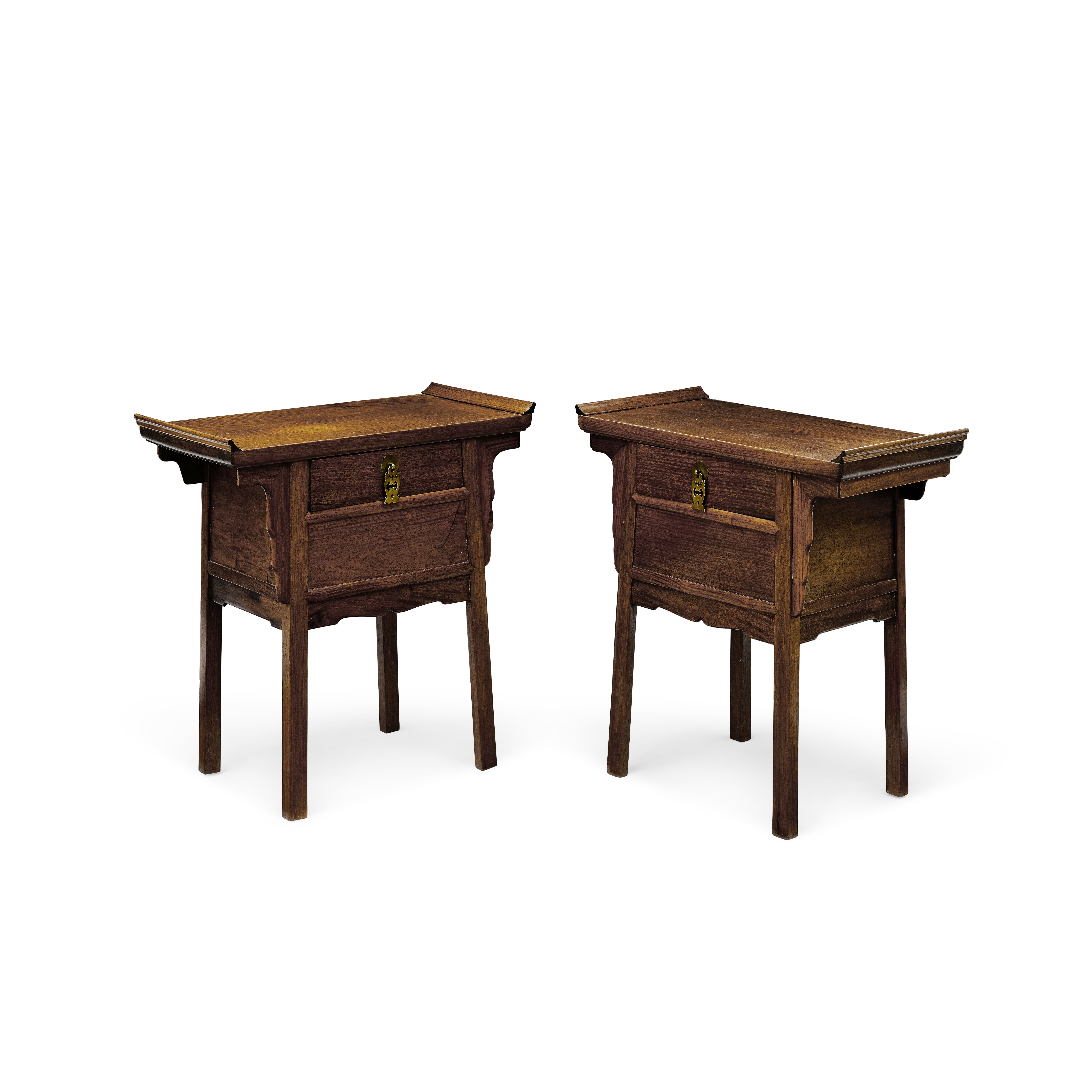 Lot 255 - Two small Chinese huanghuali and mixed hardwood side tables Republic Period