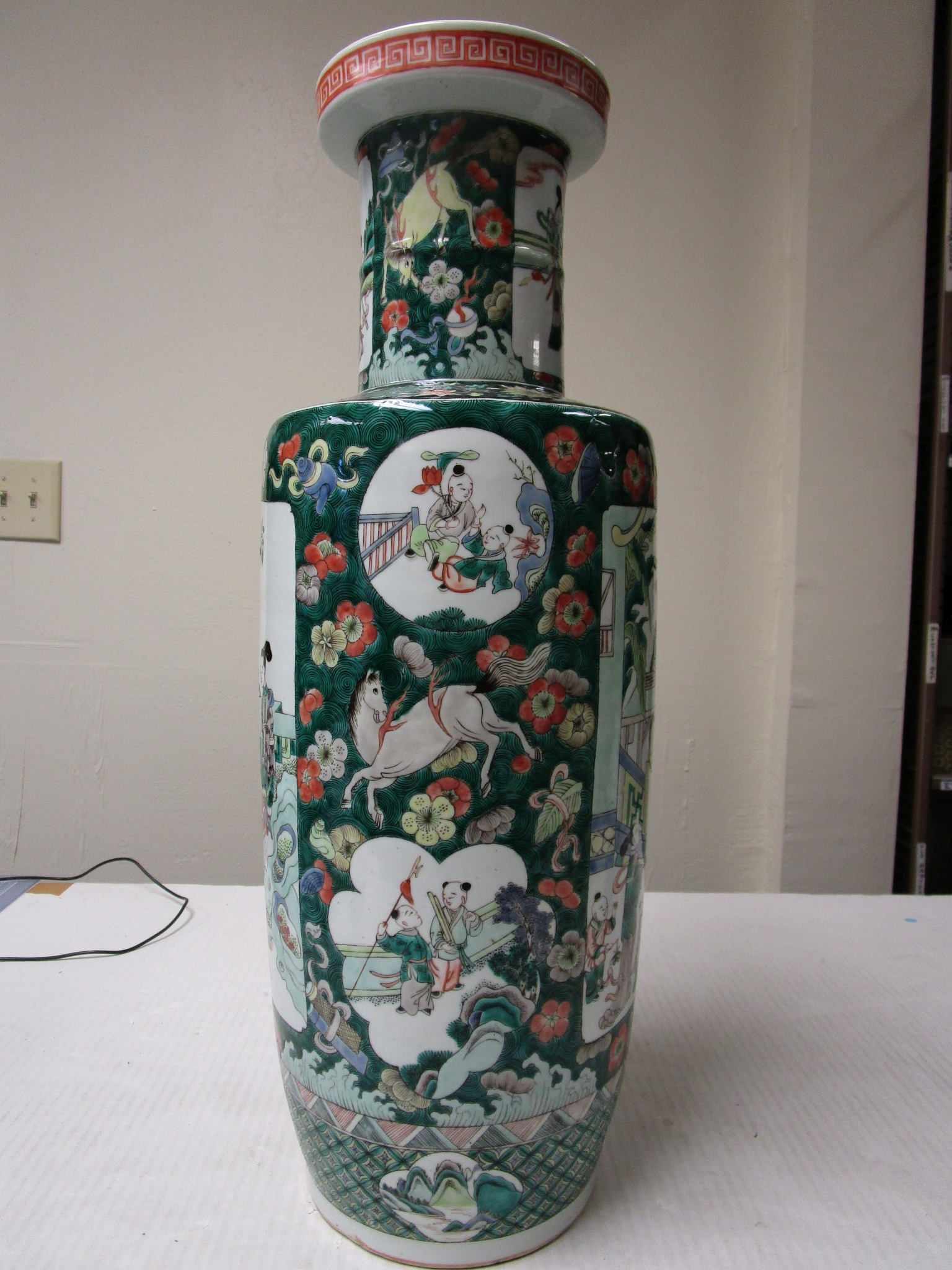 Lot 249 - A Chinese Famille Verte Enameled Rouleau Vase Late Qing dynasty