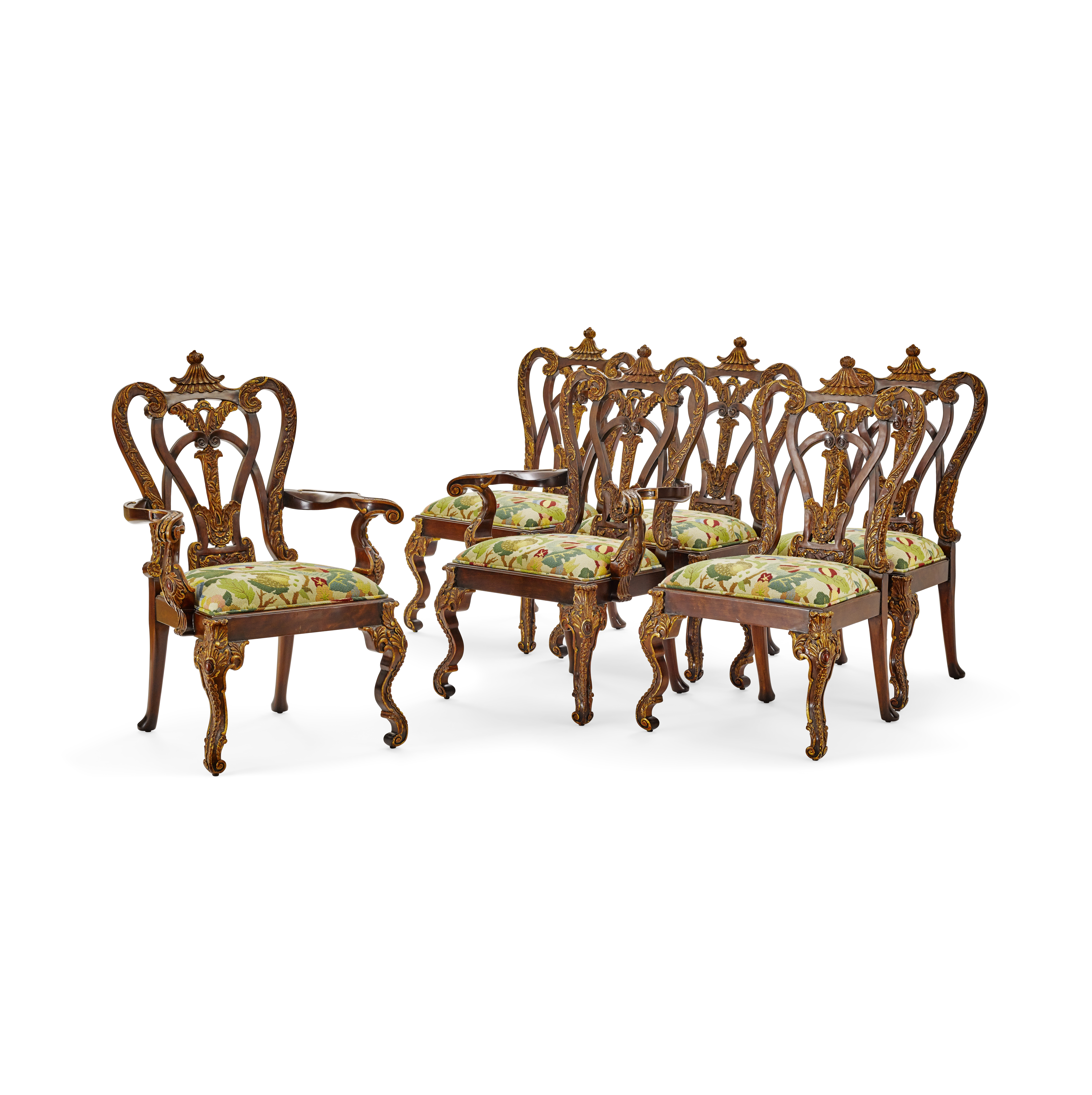 Lot 144 - A Set of Eight George II Style Grimsthorpe Castle Mahogany Dining Chairs 20th century