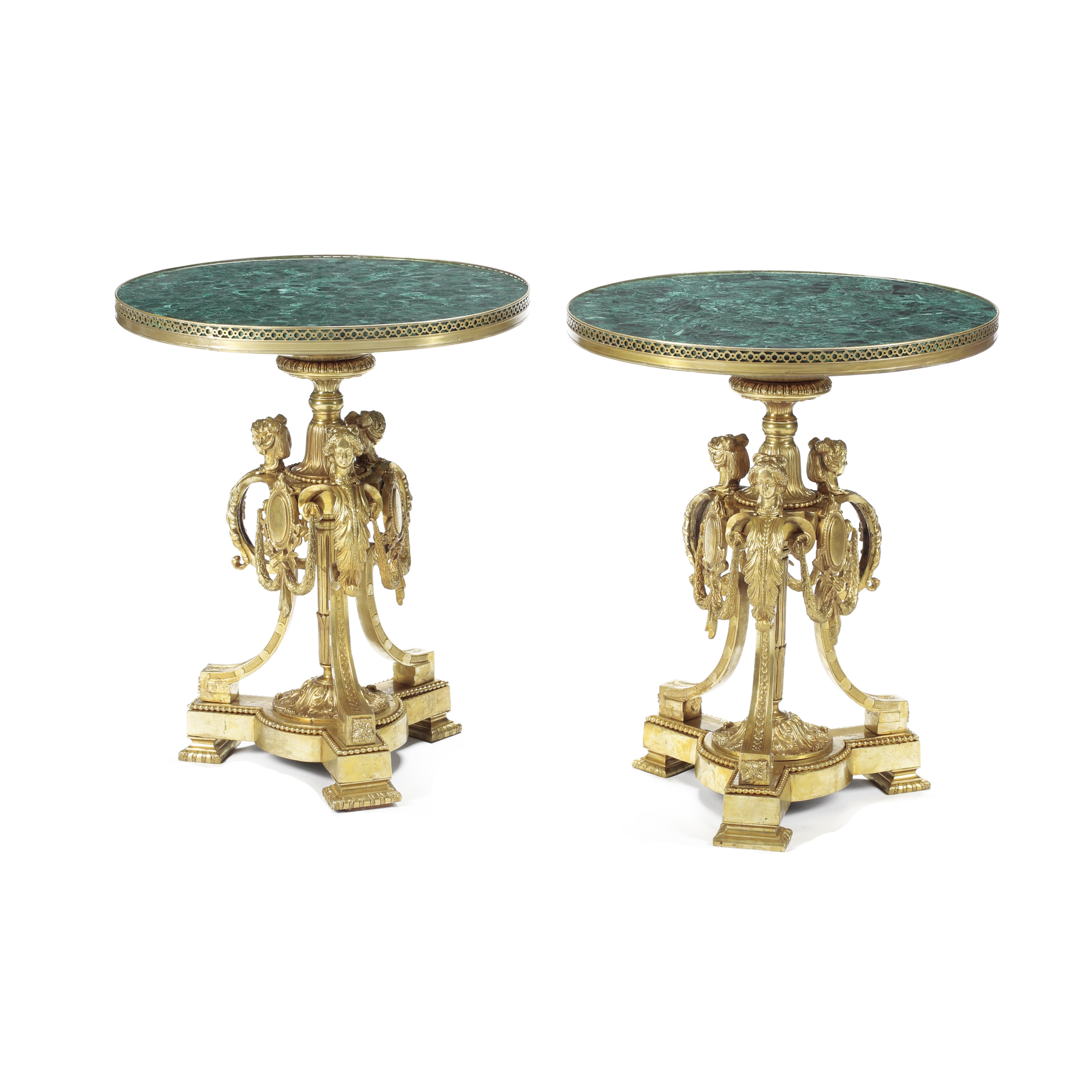 Lot 288 - A Pair of Louis XIV Malachite Top Gilt Bronze Gueridons