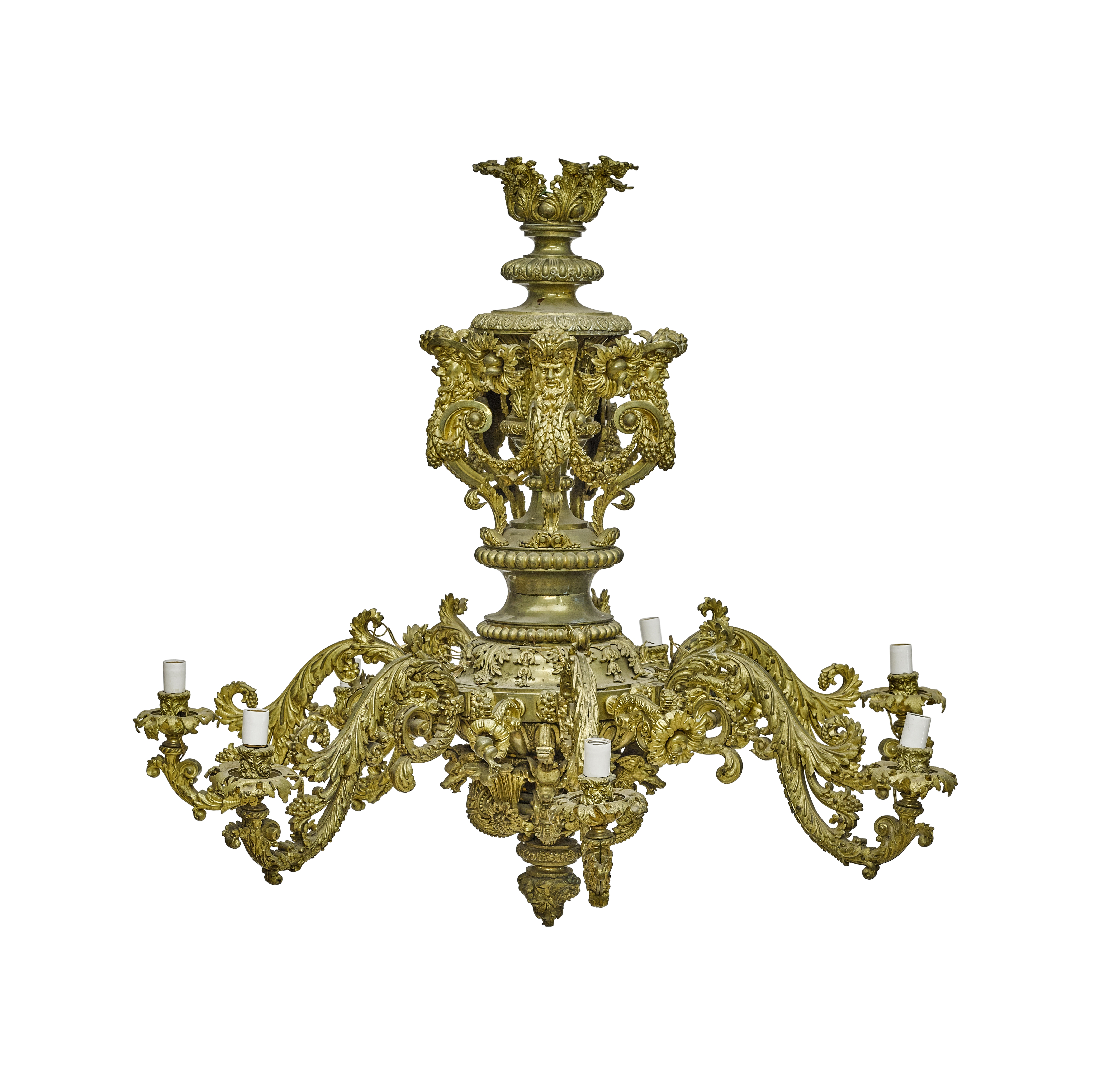 Lot 115 - A Louis XIV Style Gilt Bronze Seven Light Chandelier Late 19th/early 20th century