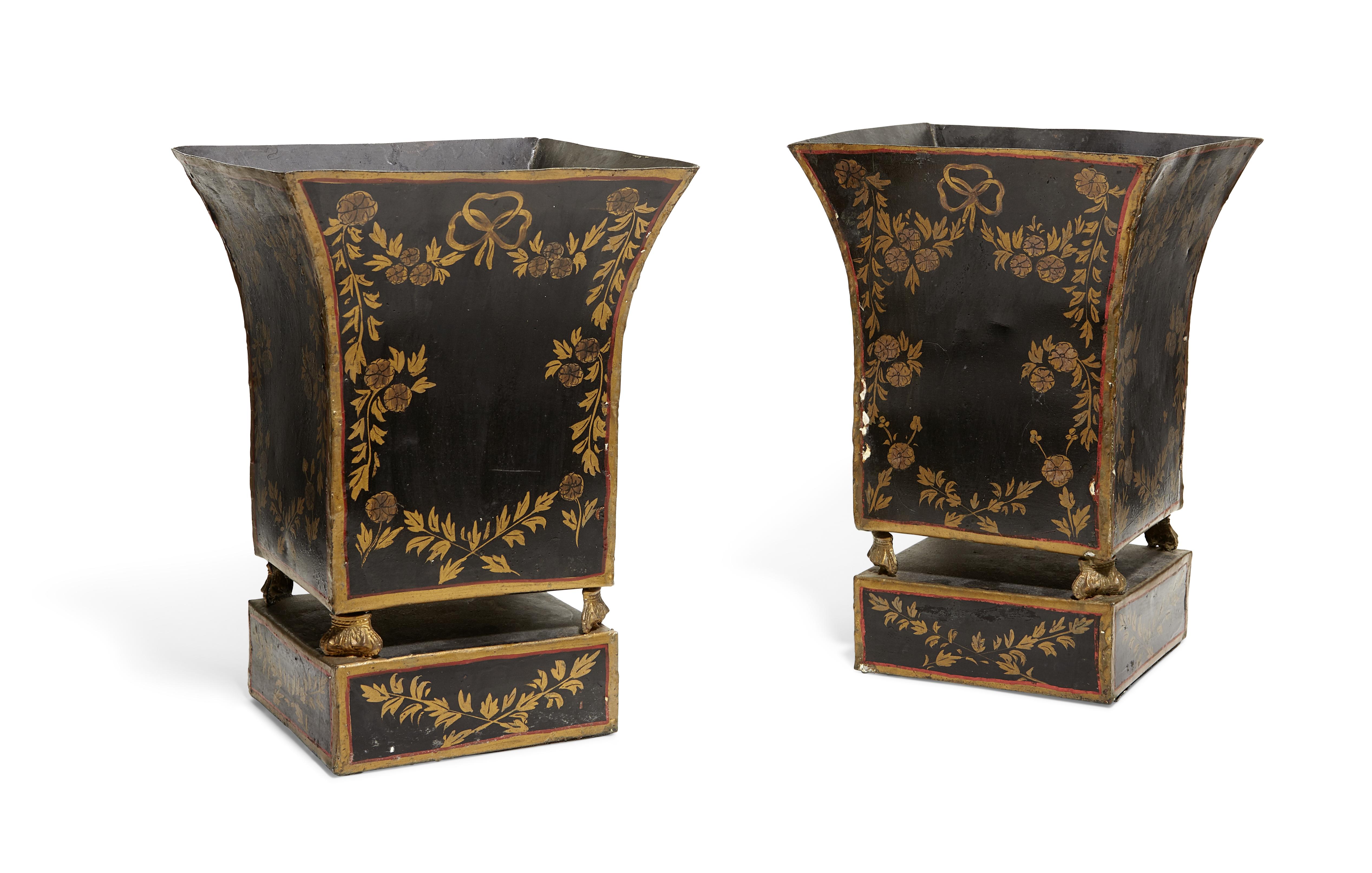 Lot 243 - A pair Continental black and gilt tôle peinte jardinières 20th century