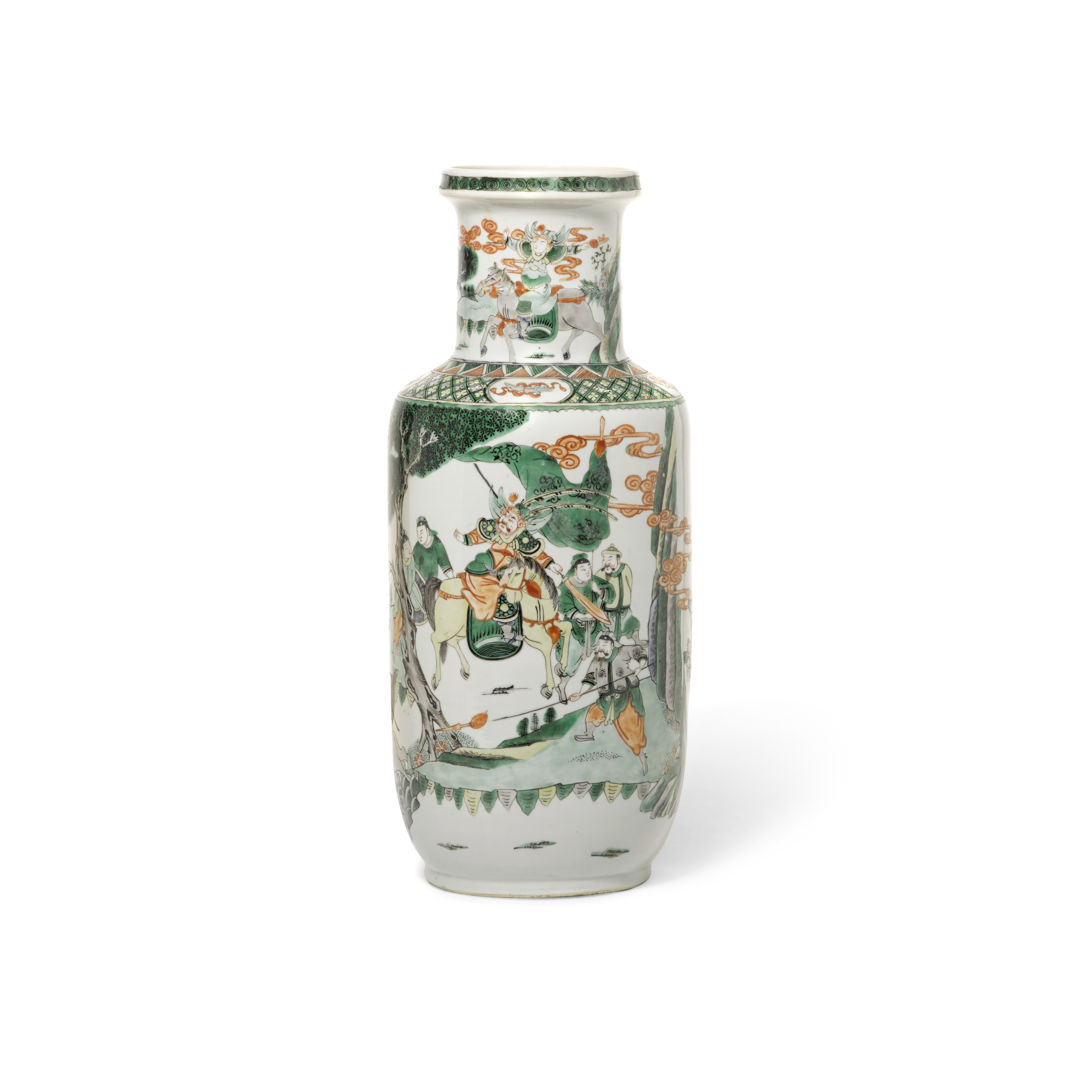 Lot 257 - A Chinese famille verte enameled rouleau vase 19th century