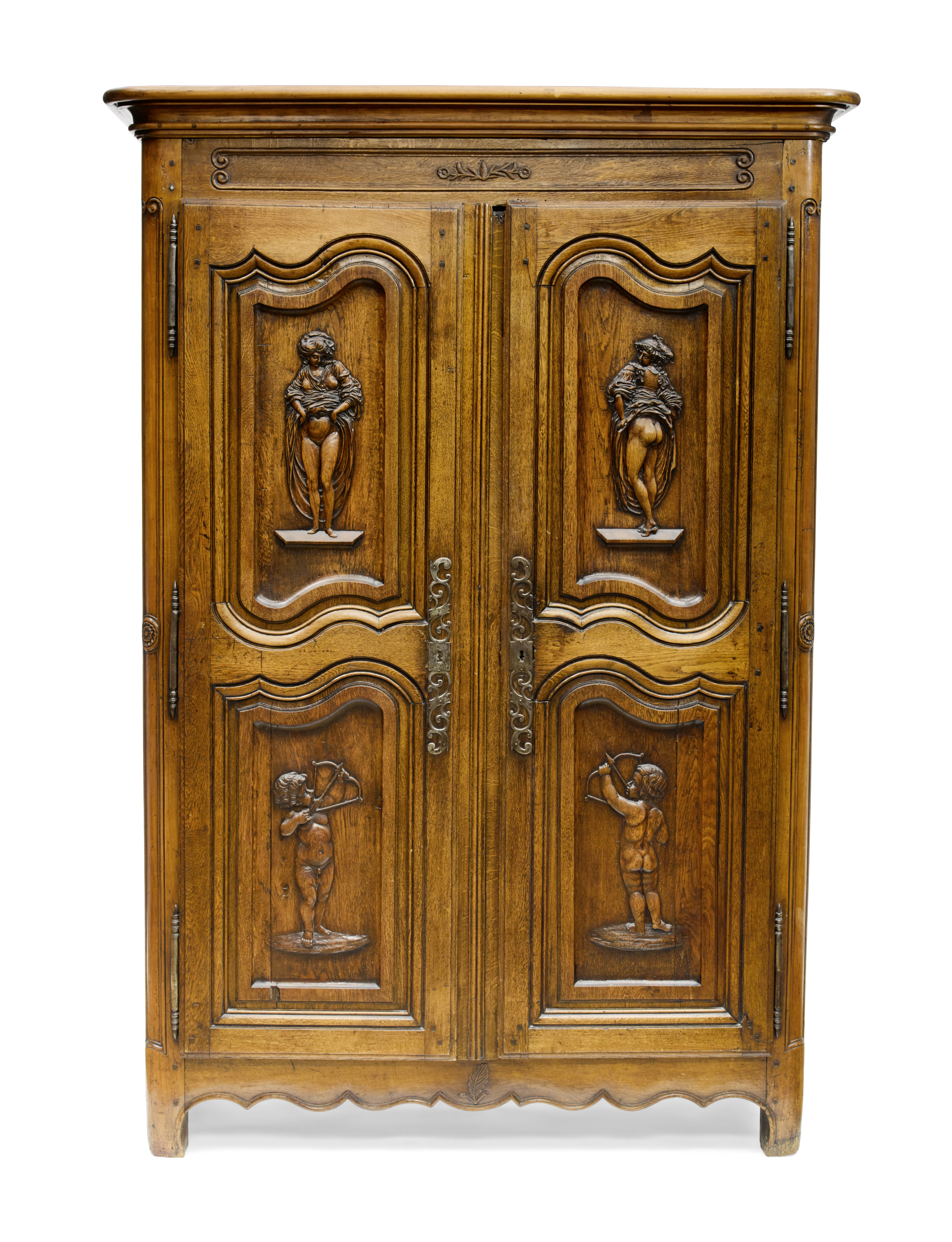 Lot 153 - A French Provincial Carved Oak and Fruitwood Armoire Late 18th century