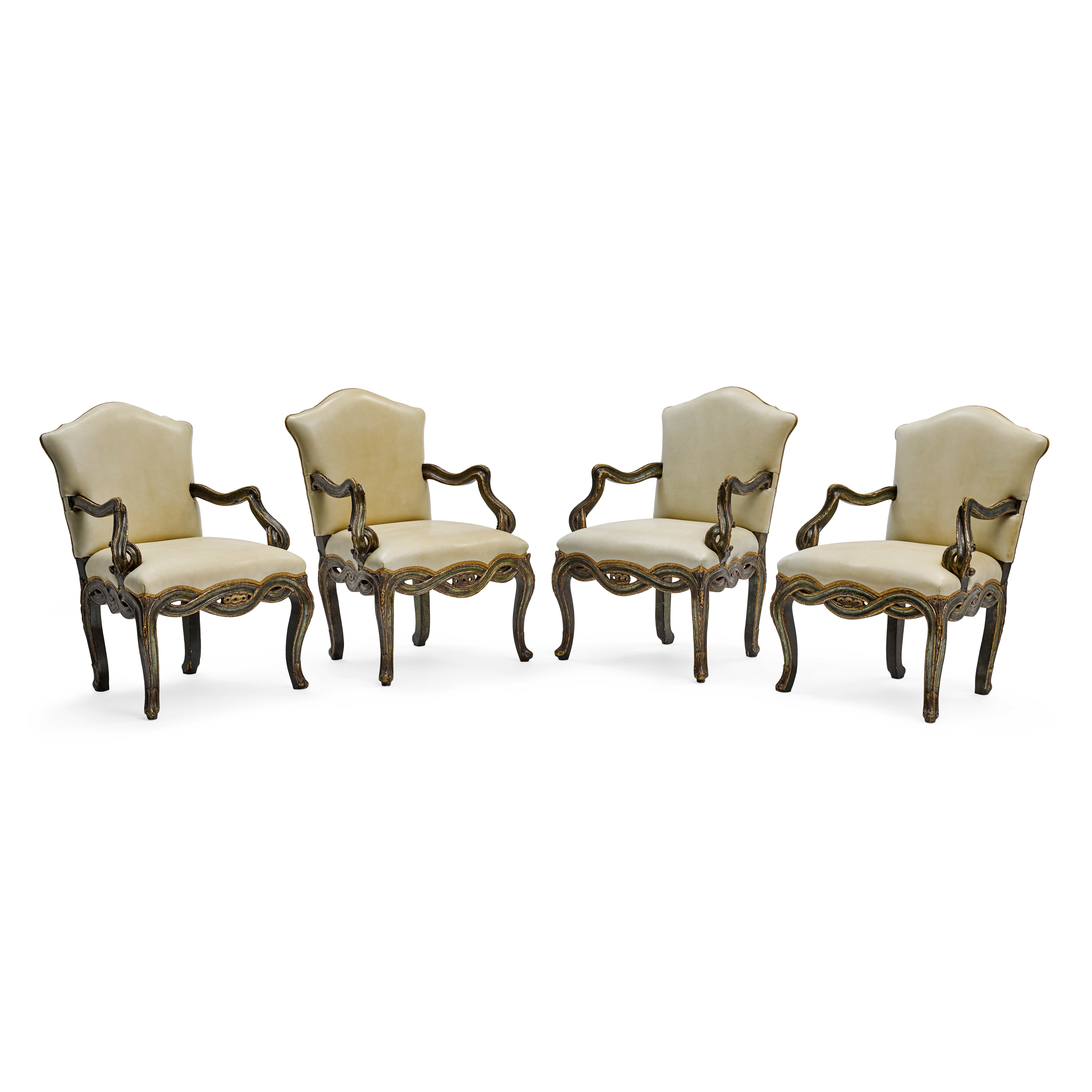 Lot 157 - An Assembled Set of Four Venetian Rococo Style Painted Wood Armchairs 19th century and later