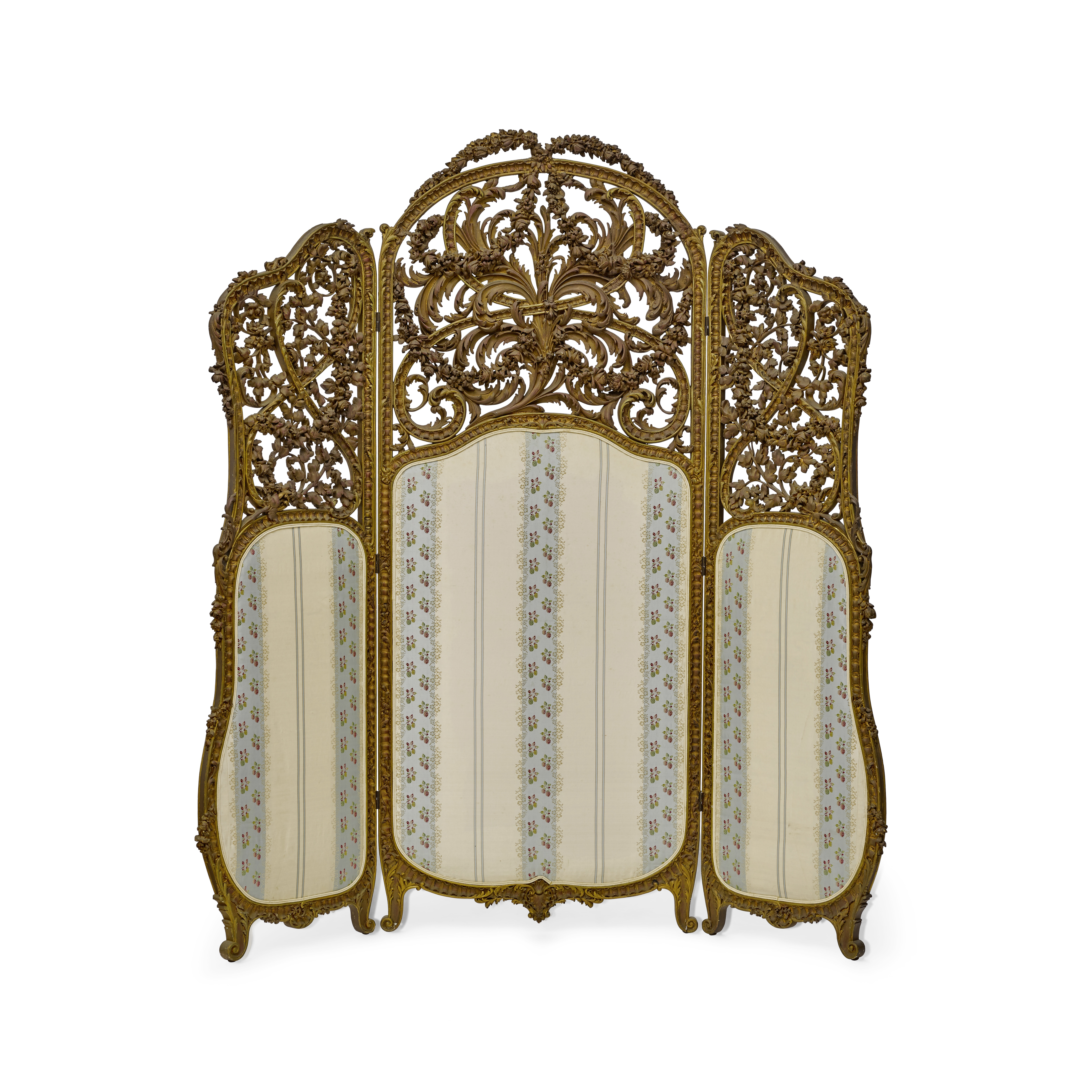 Lot 160 - A Louis XV style giltwood and upholstered three panel screen Late 19th century