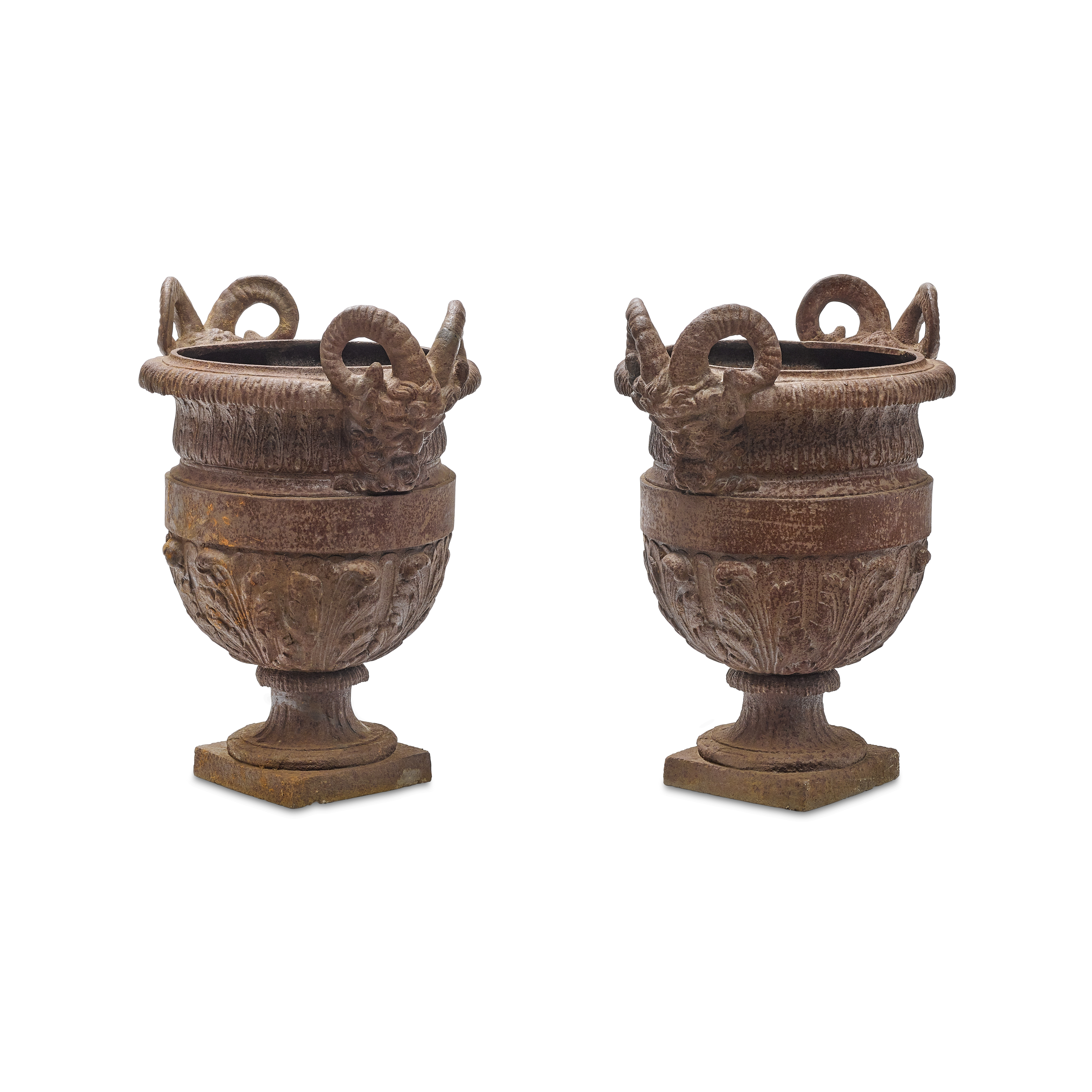 Lot 204 - Pair of Neoclassical Style Patinated Iron Garden Urns