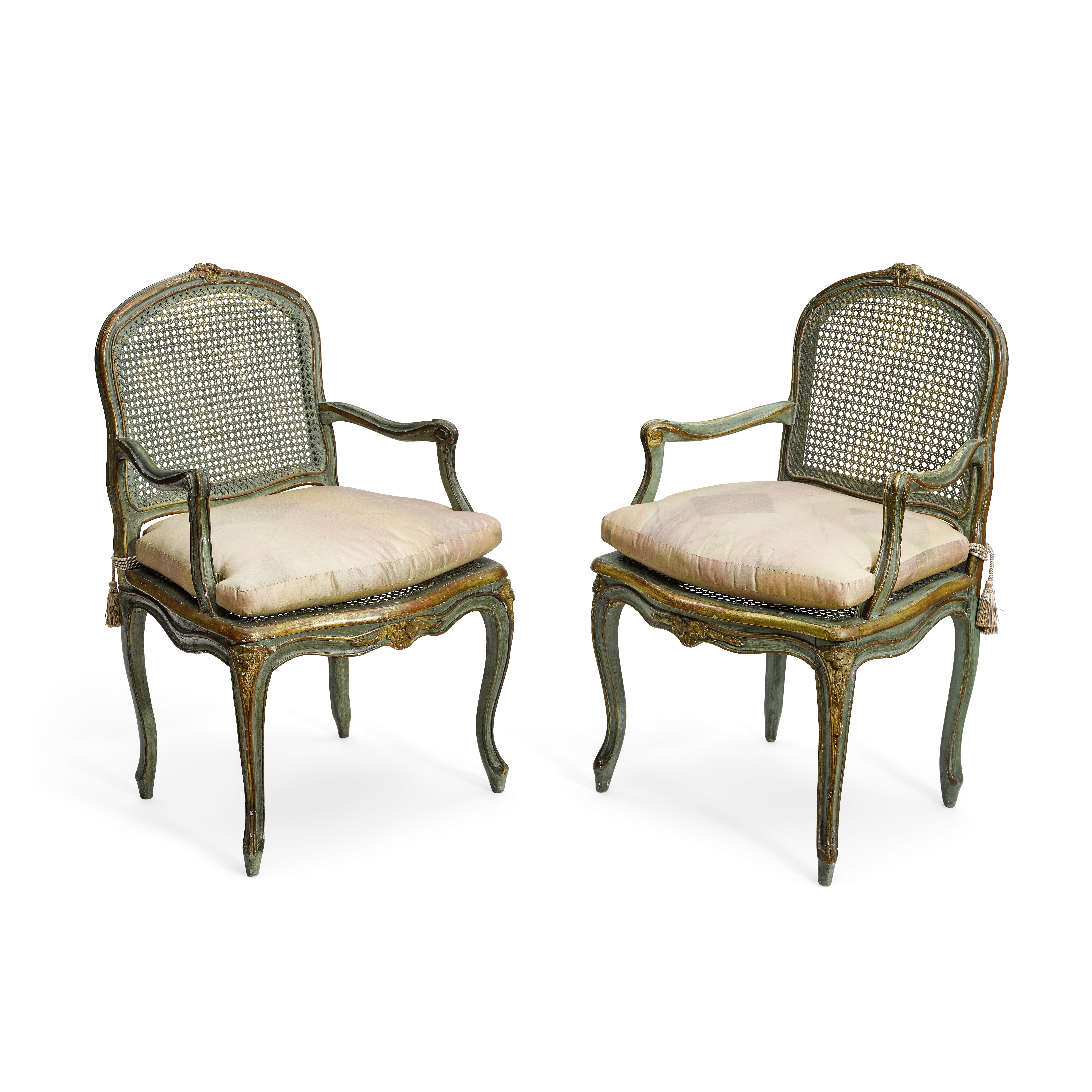 Lot 162 - A pair of Louis XV Parcel Gilt and Painted Fauteuils 18th century