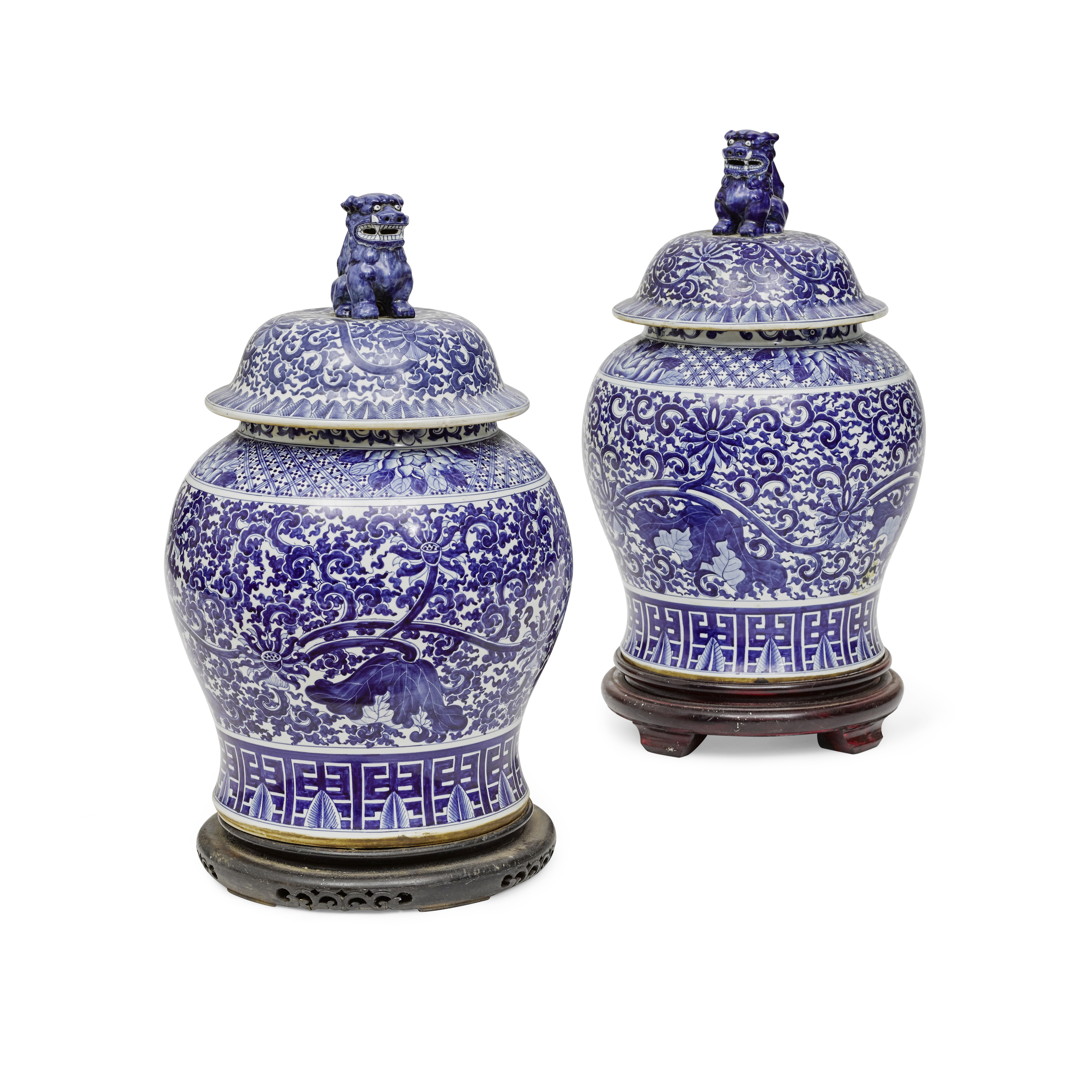 Lot 256 - A Group of Three Chinese Blue and White Porcelain Covered Jars Late 20th century
