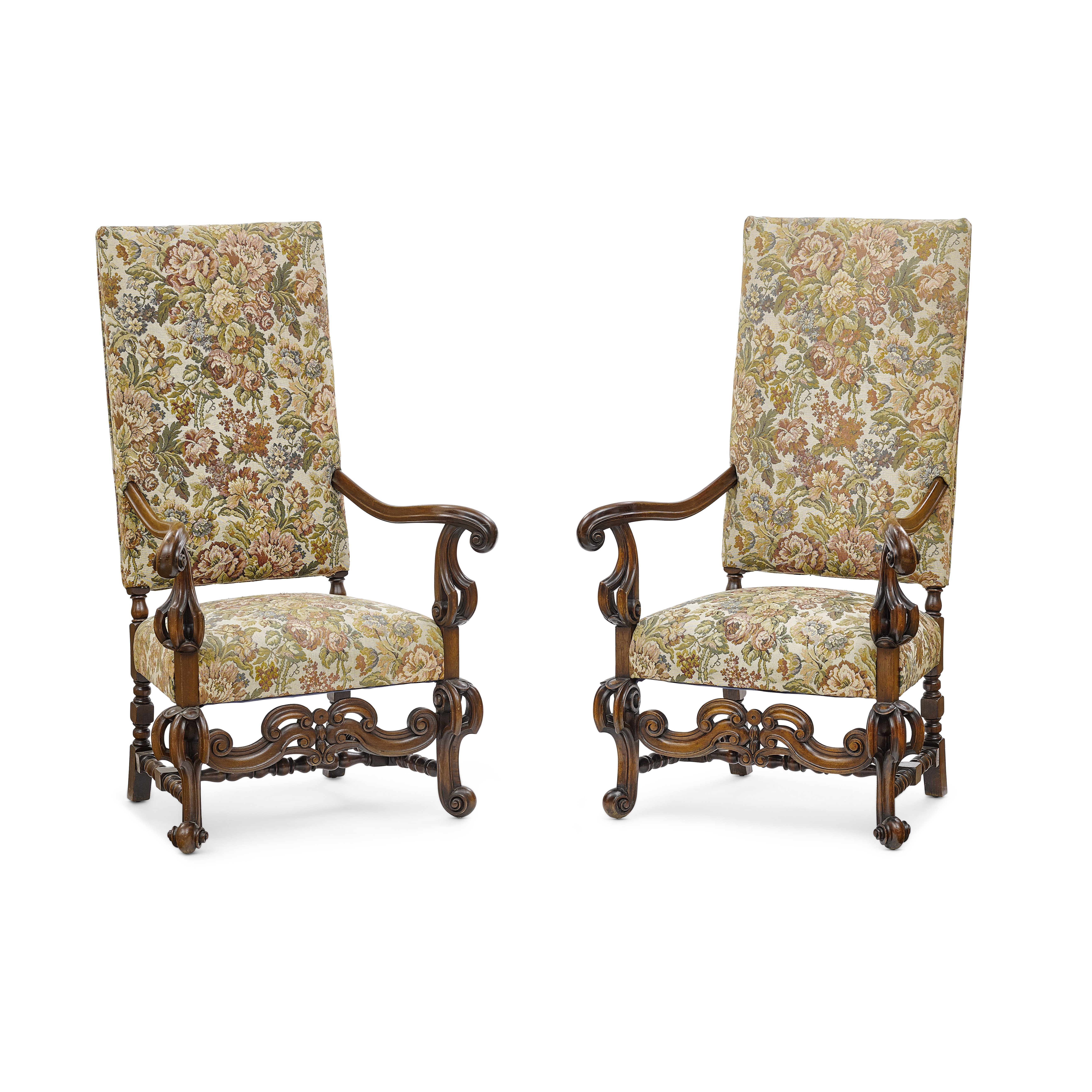 Lot 120 - A Pair of Continental Baroque Style Upholstered Walnut Armchairs Late 19th/early 20th century