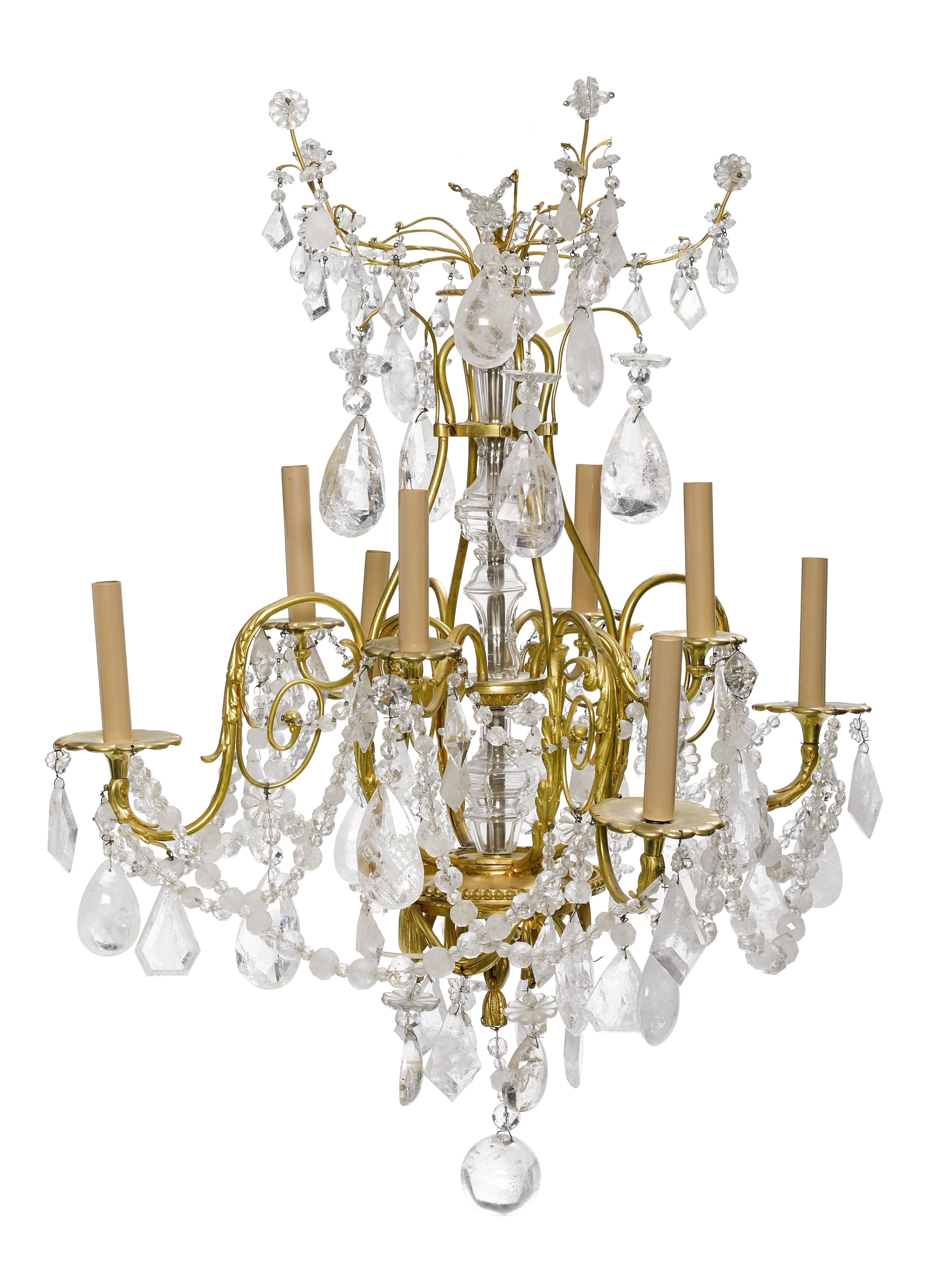 Lot 286 - A French gilt bronze and rock crystal eight light chandelier