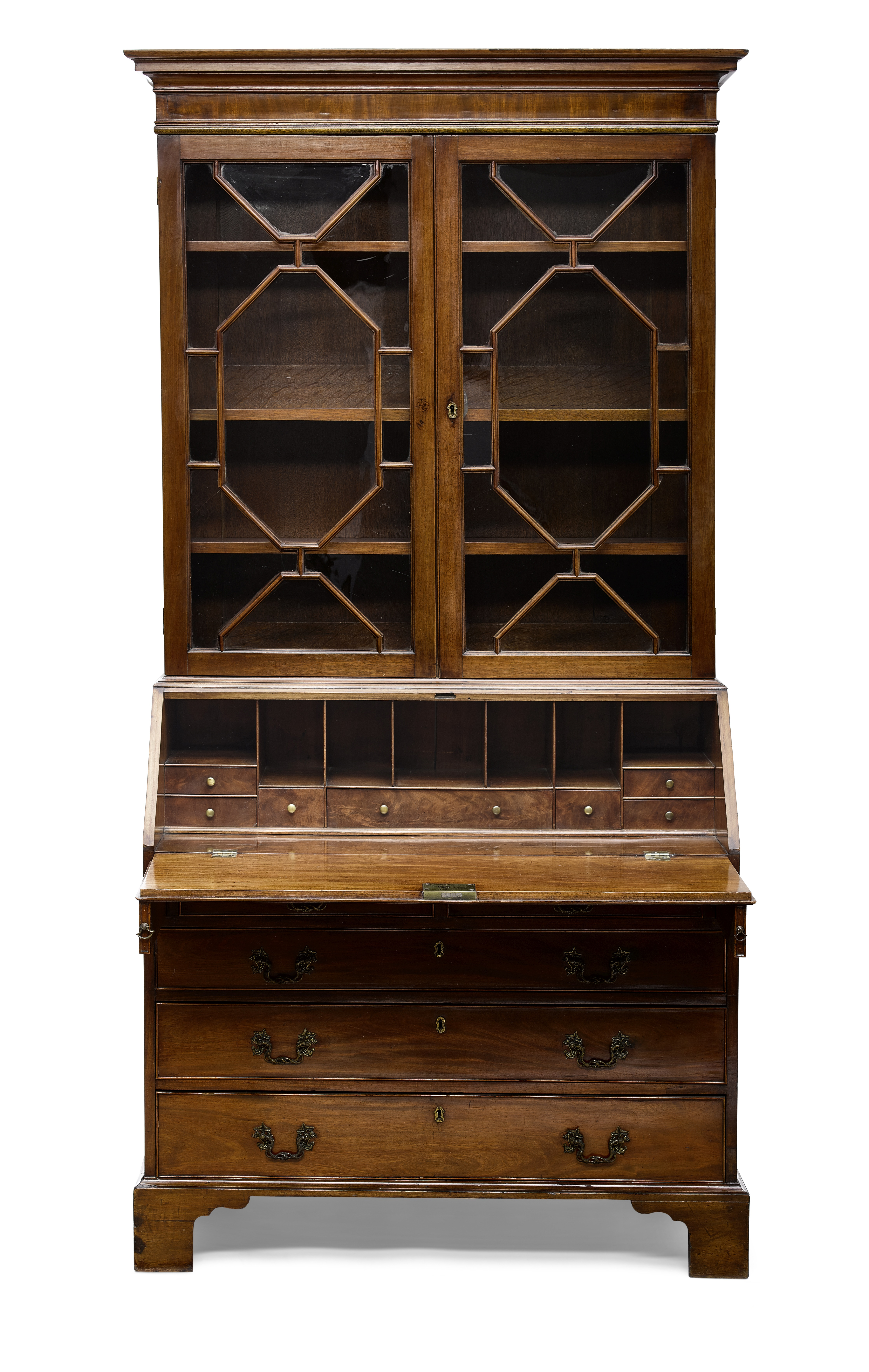 Lot 141 - A George III Mahogany Secretary Bookcase Late 18th century
