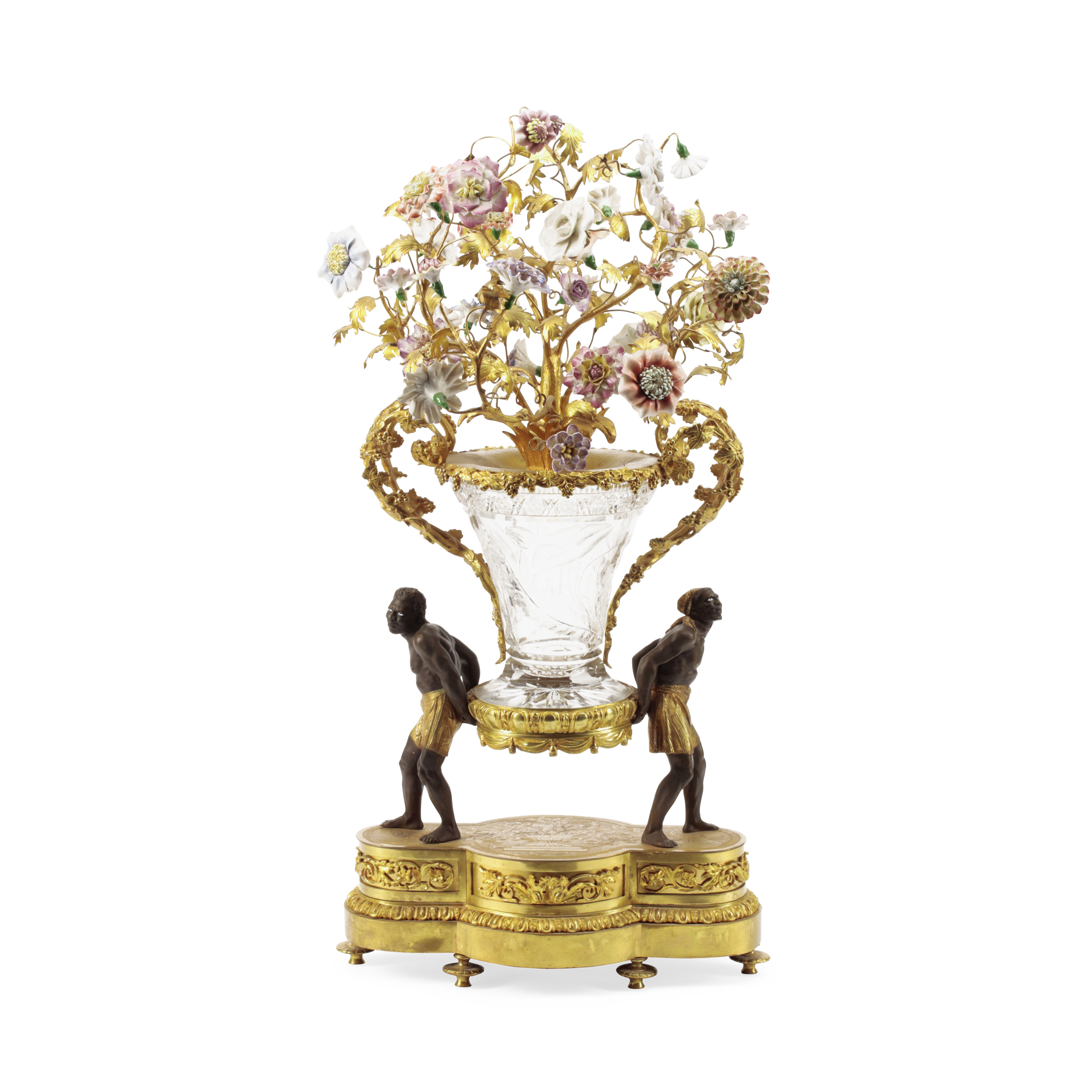 Lot 227 - A French Style Patinated and Gilt Bronze, Porcelain and Engraved Glass Centerpiece