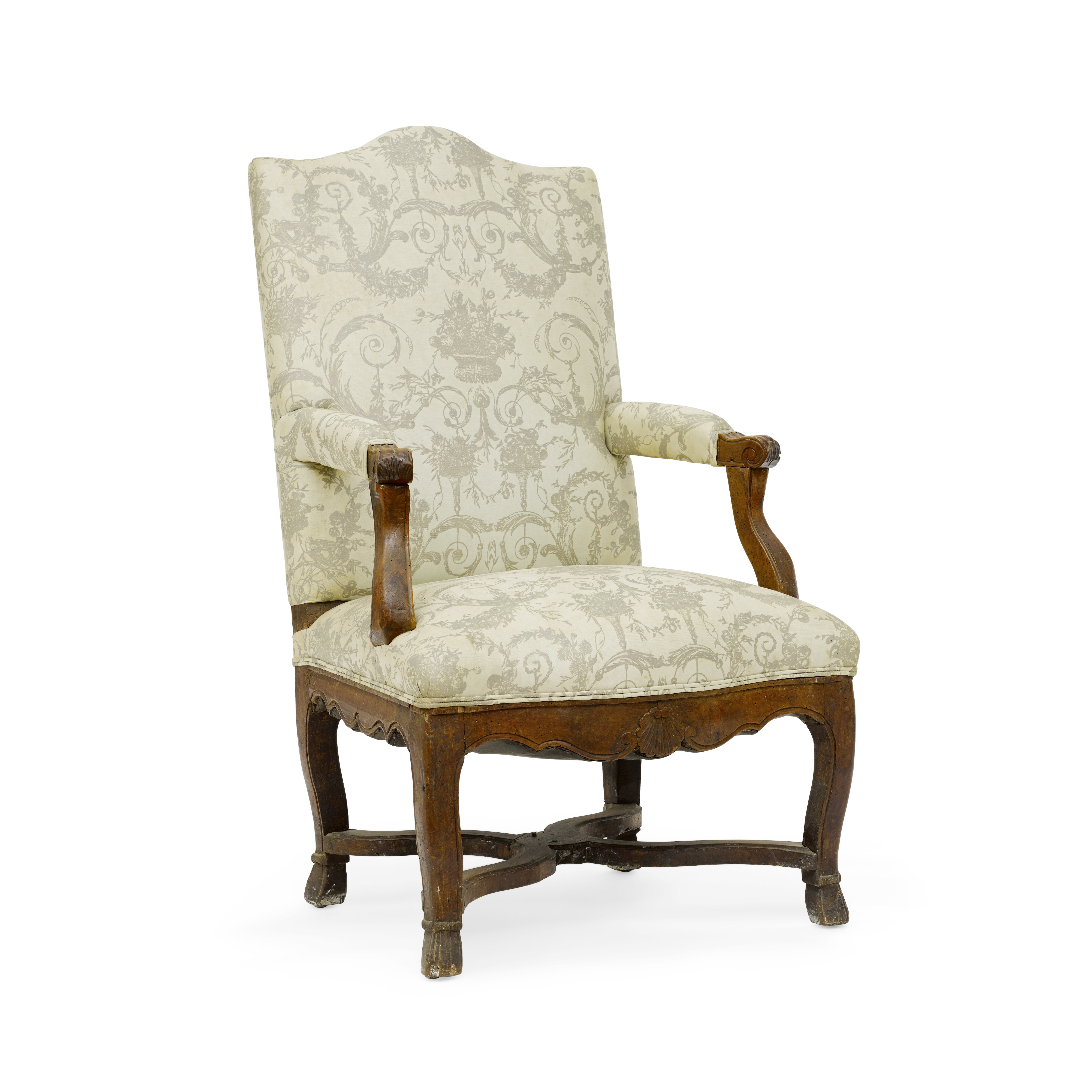 Lot 155 - A Louis XV walnut fauteuil a la reine First quarter 18th century