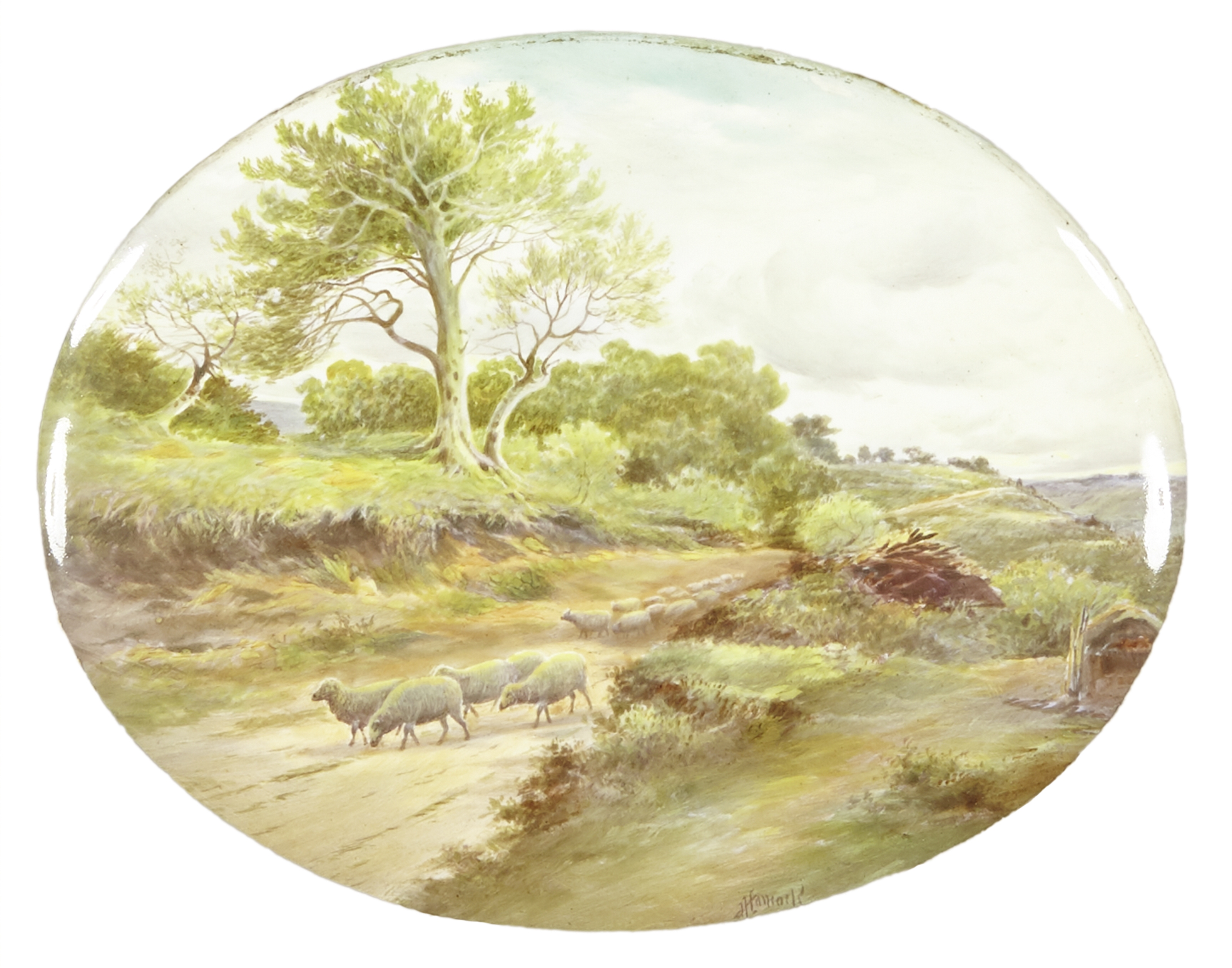 Lot 333 - A Royal Doulton porcelain plaque of sheep grazing Late 19th century