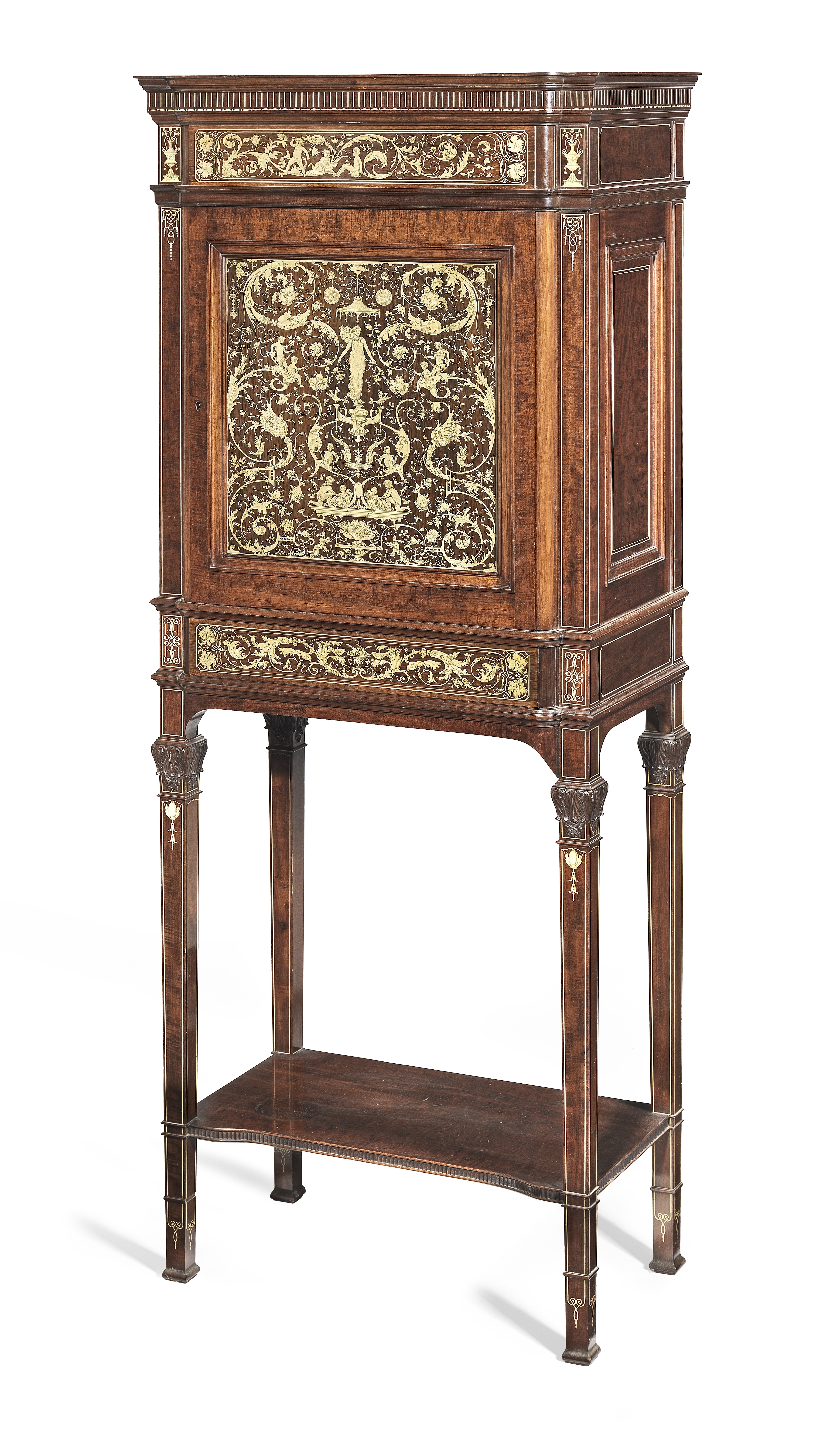 Lot 37 - A late Victorian mahogany, rosewood and ivory marquetry cabinet on stand attributed to Collinson ...
