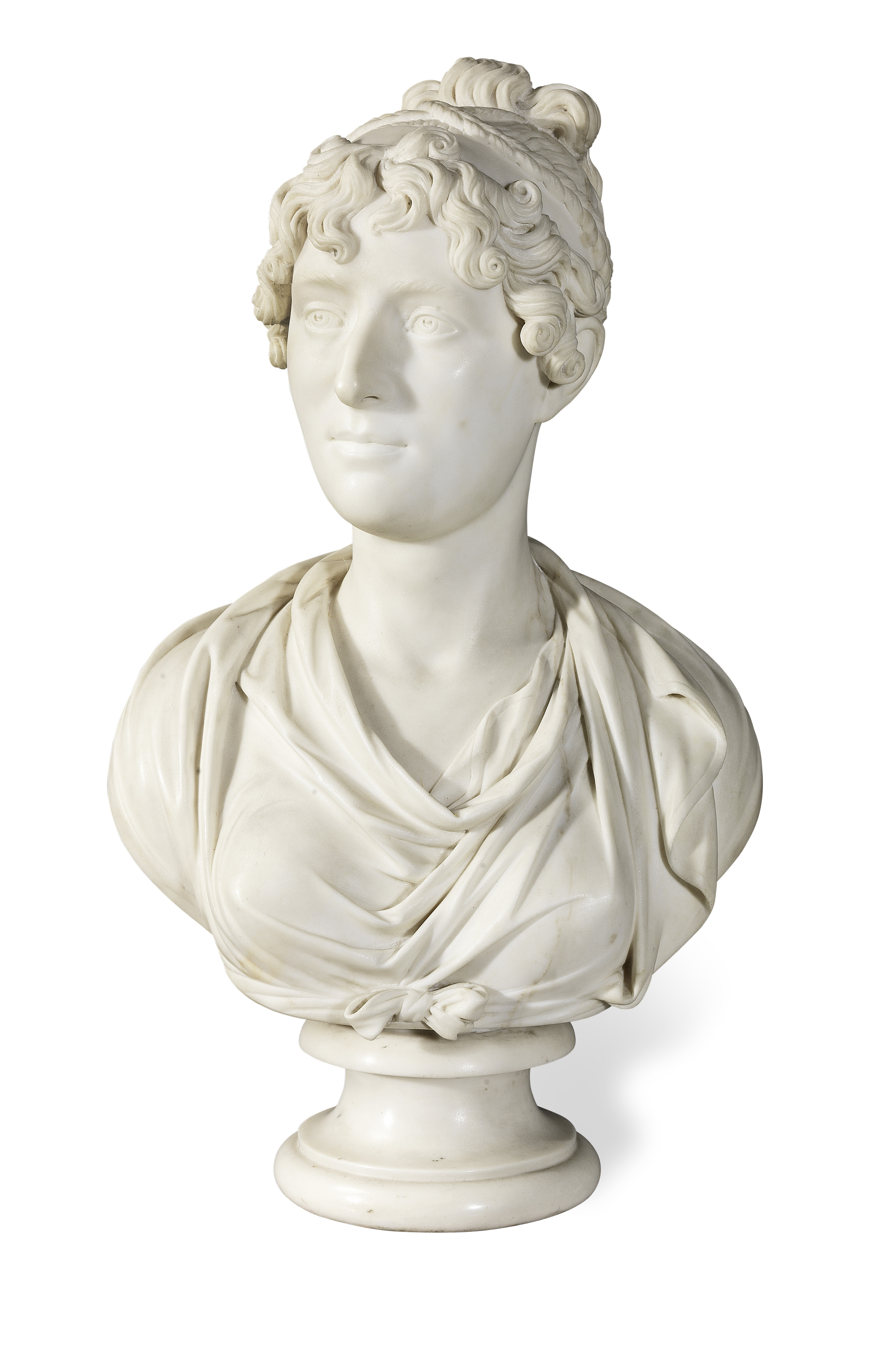 Lot 40 - Lewis Alexander Goblet (British, b. 1764, d. after 1826): A marble portrait bust of a lady, tradi...