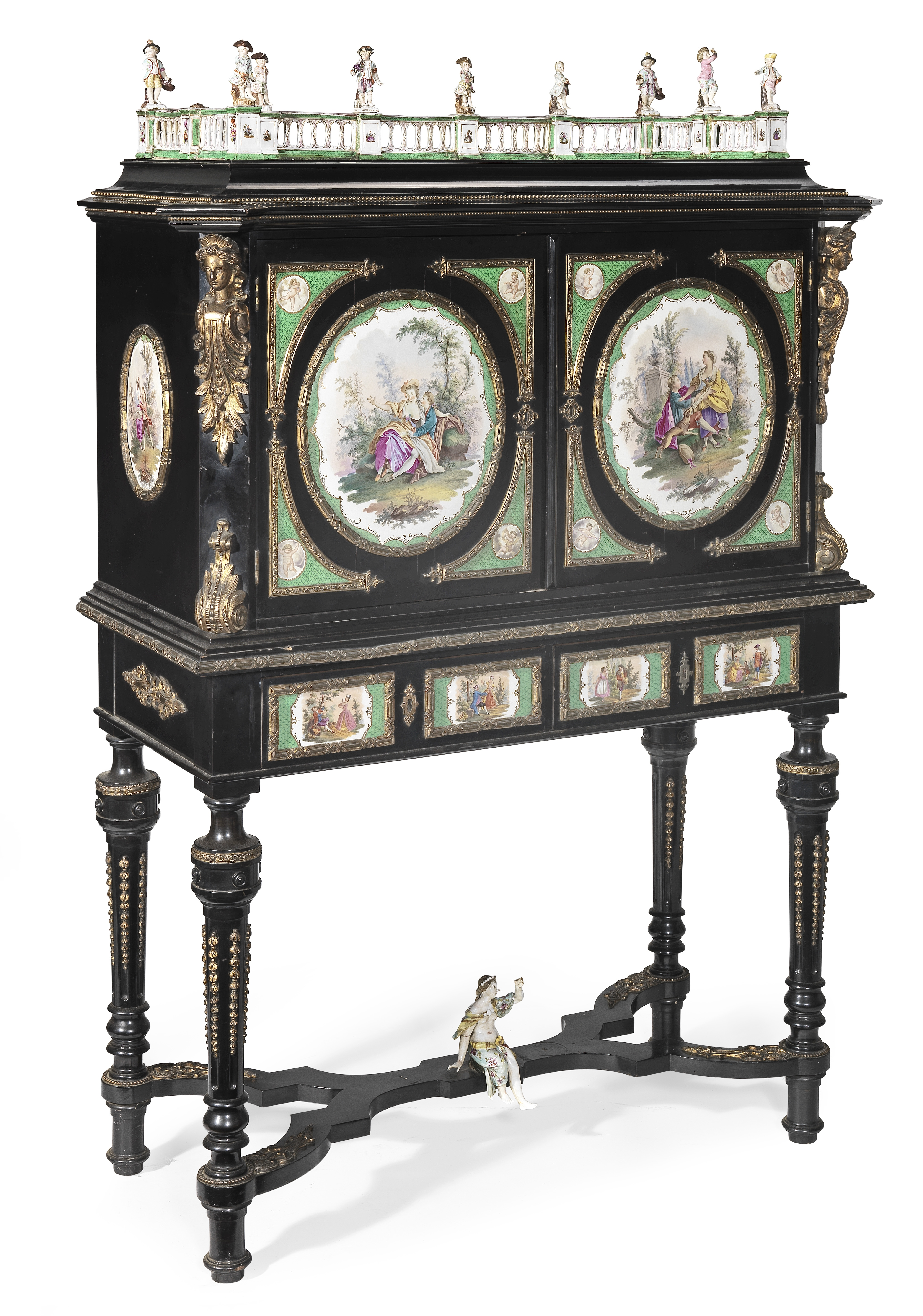 Lot 38 - A pair of German 19th century porcelain and gilt bronze mounted ebonised cabinets on stands (2)