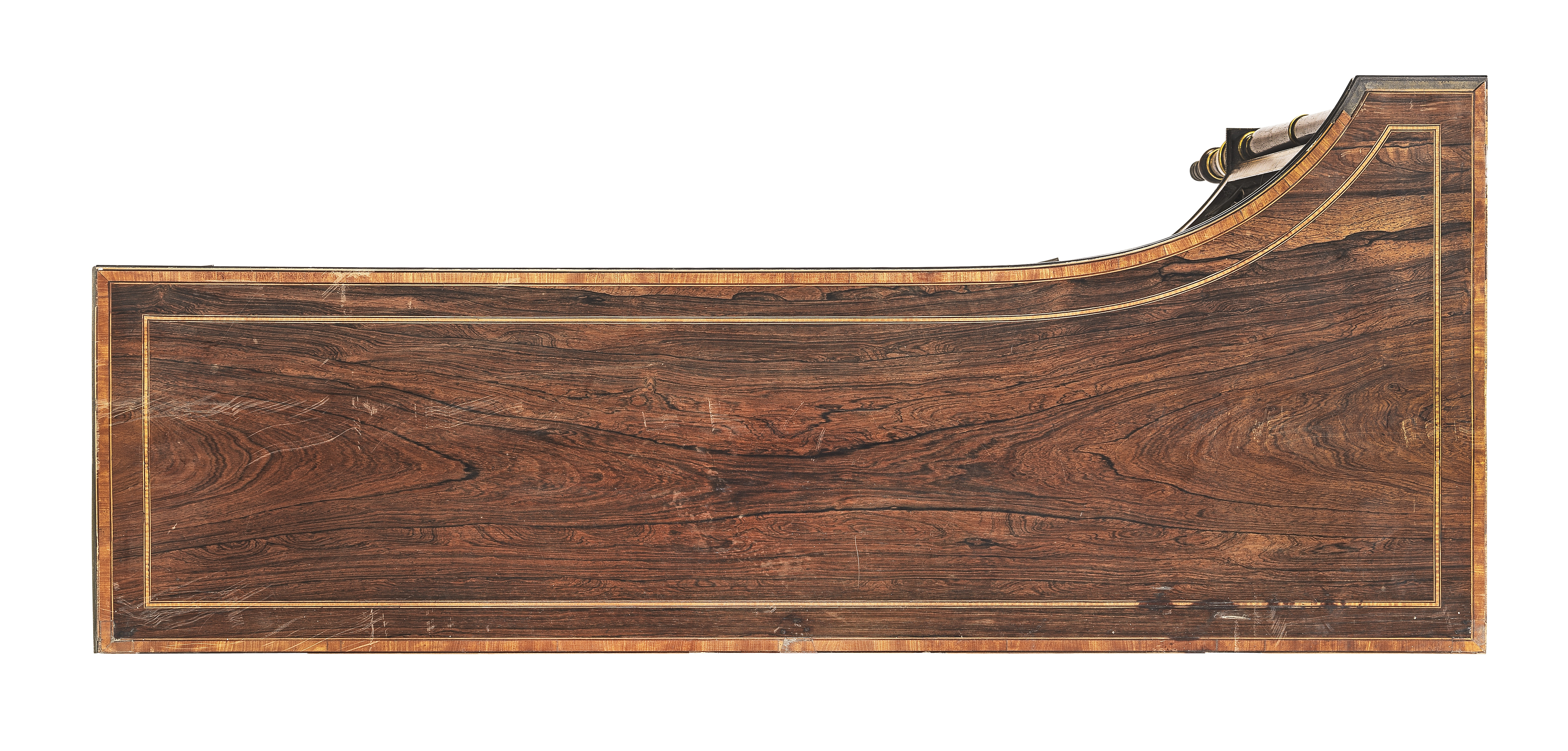 Lot 11 - A pair of late George III brass mounted rosewood, satinwood crossbanded and sycamore line-inlaid ...