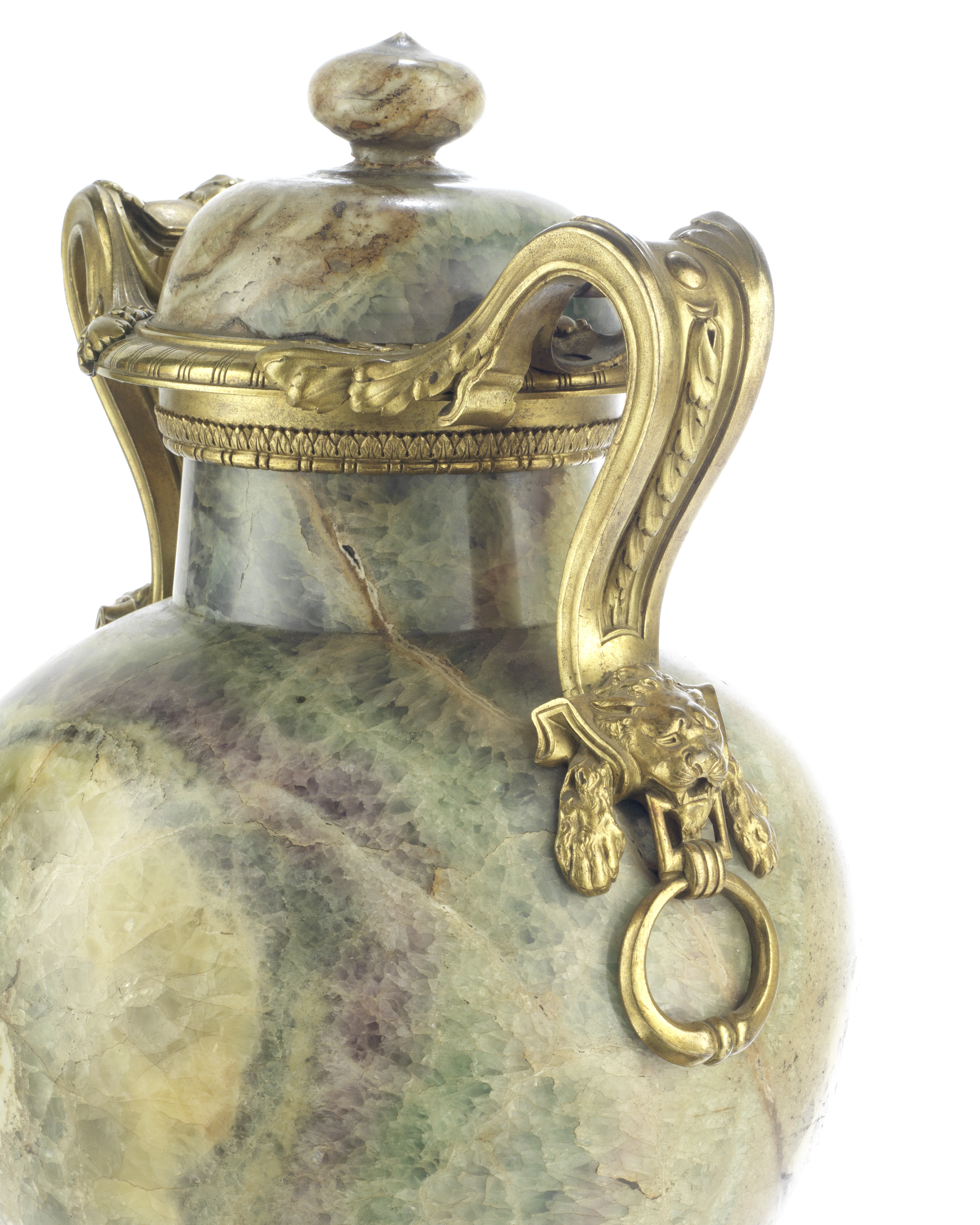 Lot 58 - A Pair of 19th century French gilt bronze and green 'Spath-Fluor' fluorite garniture vases and co...